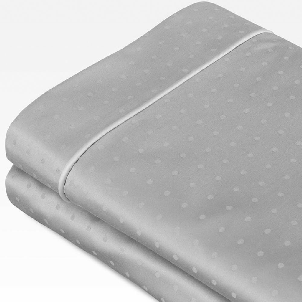 Swiss Dot Jacquard 100% Cotton 700 Thread Count Sheet Set Color: Dove Gray, Size: King