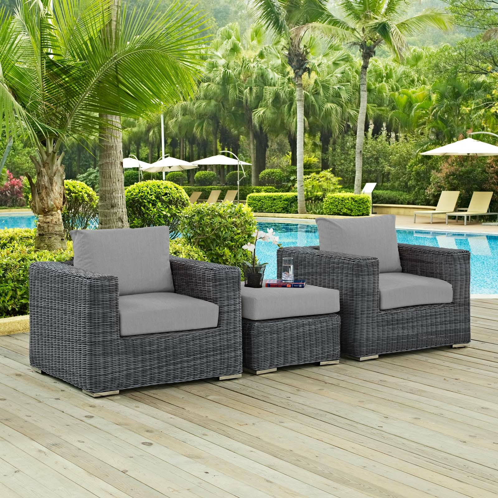 Alaia 3 Piece Rattan Sunbrella 2 Person Seating Group with Cushions Cushion Color: Gray