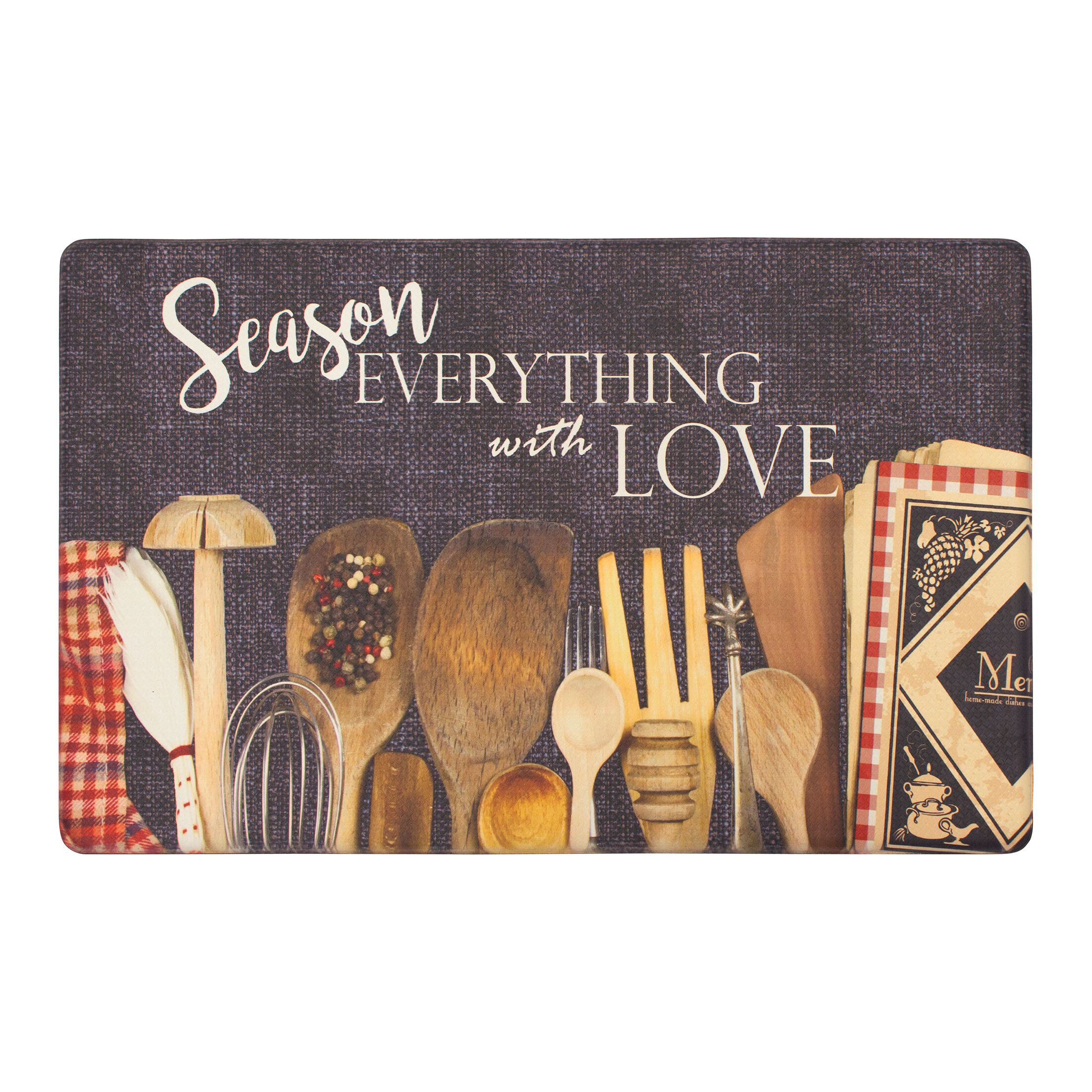 Rivard Utensils Season with Love Kitchen Mat Mat Size: Rectangle 1'8