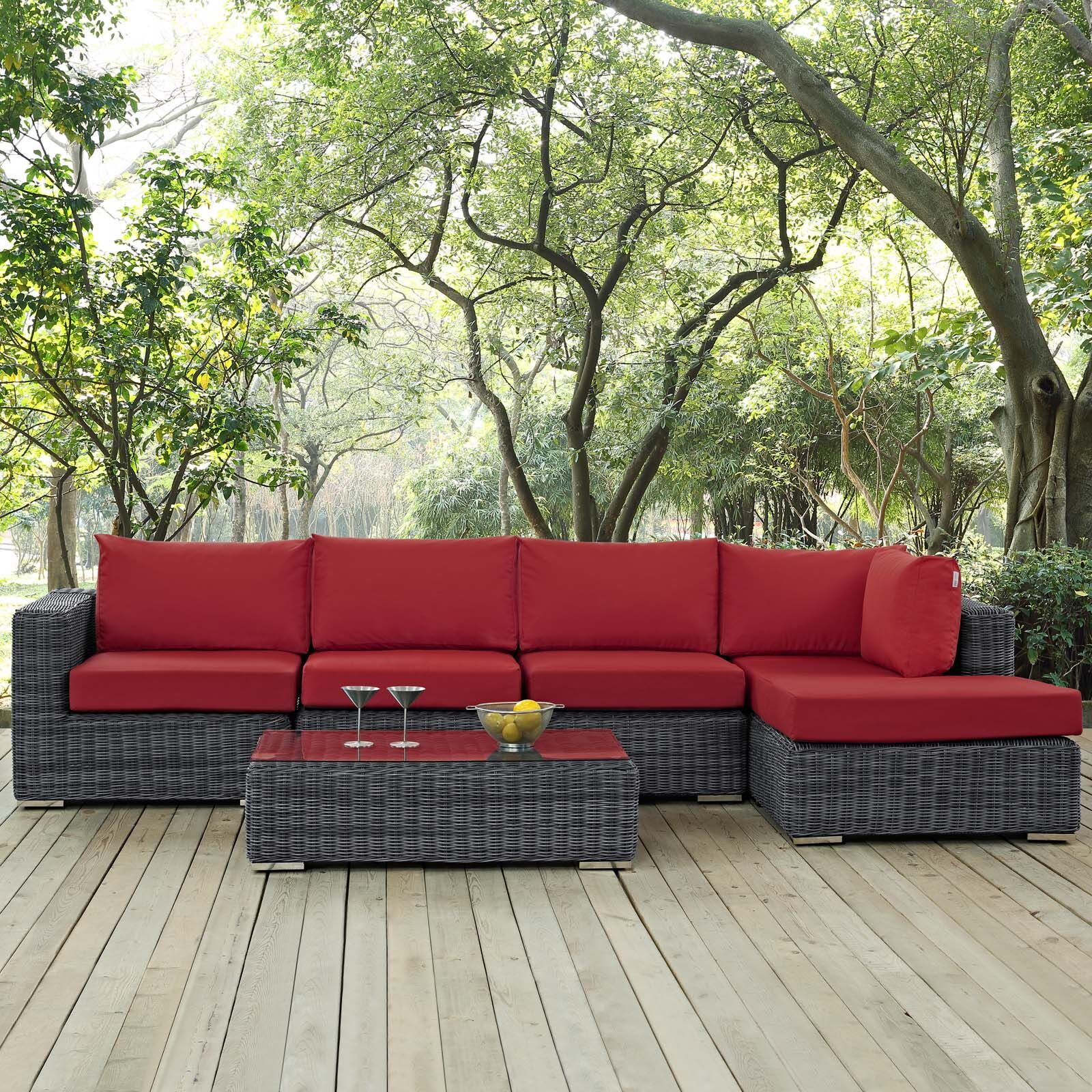 Alaia 5 Piece Rattan Sunbrella Sectional Seating Group with Cushions Cushion Color: Red