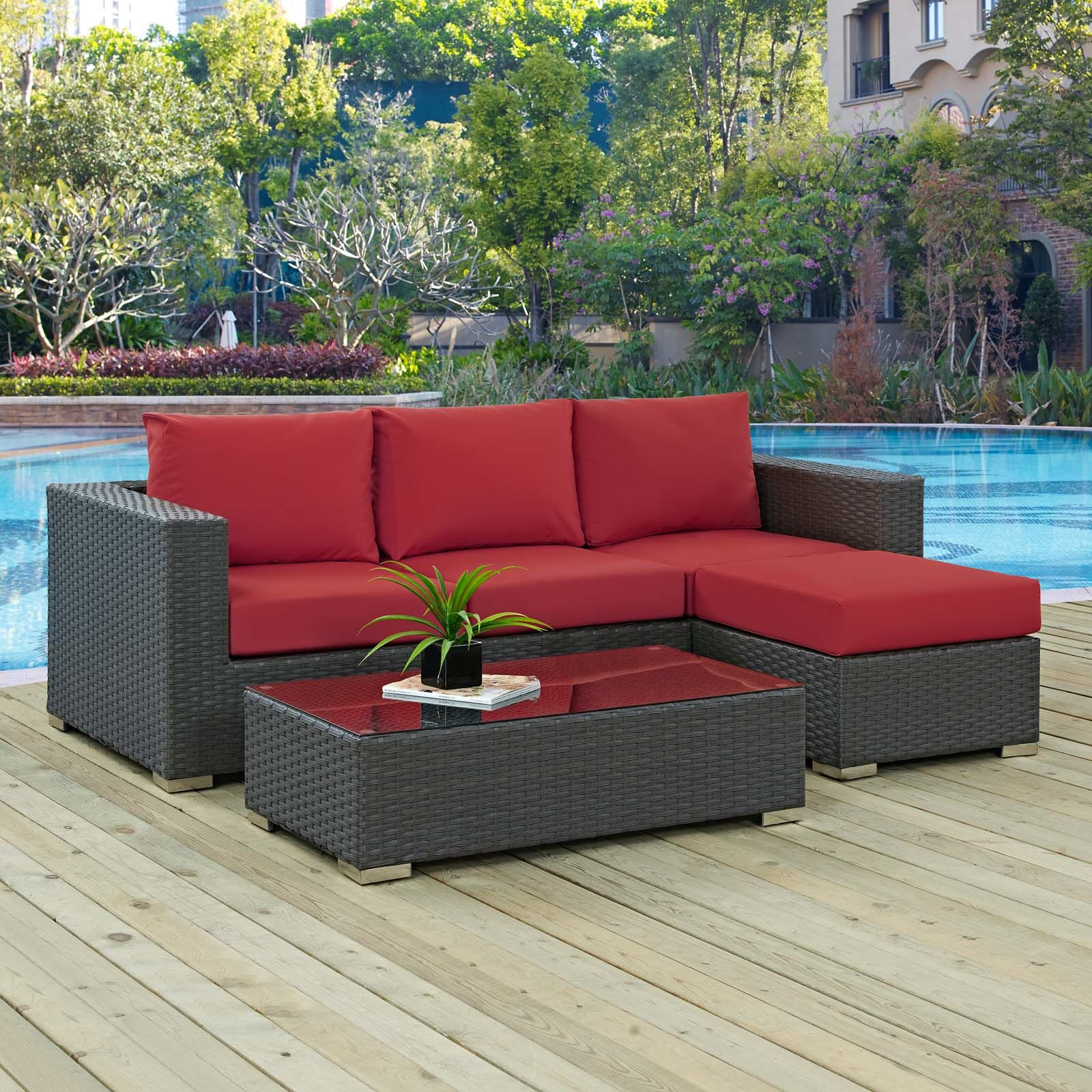Leda 3 Piece Rattan Sunbrella Sofa Seating Group with Cushions Cushion Color: Red