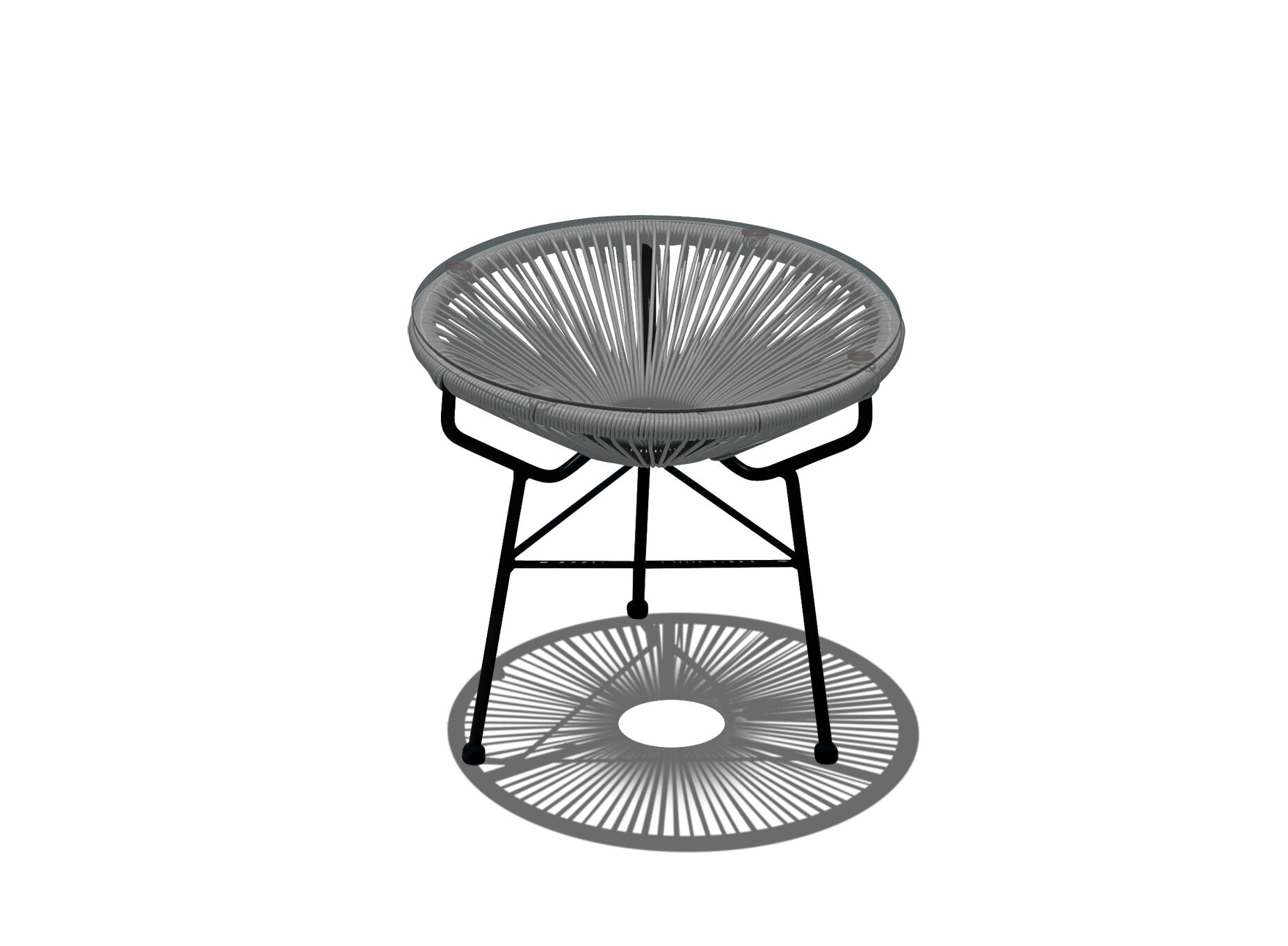 Acapulco Rattan Side Table Base Color: Black, Top Color: Space Gray