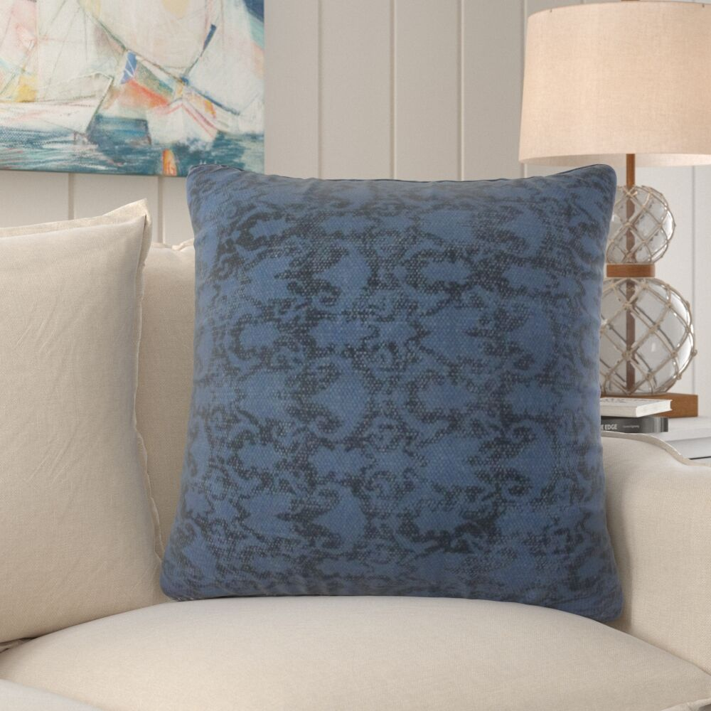 Woodyard Cotton Throw Pillow Color: Blue