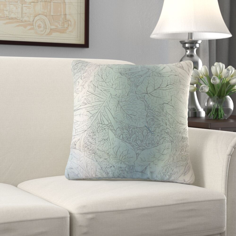 Greenbriar Stringham Floral Cotton Throw Pillow Color: Cove