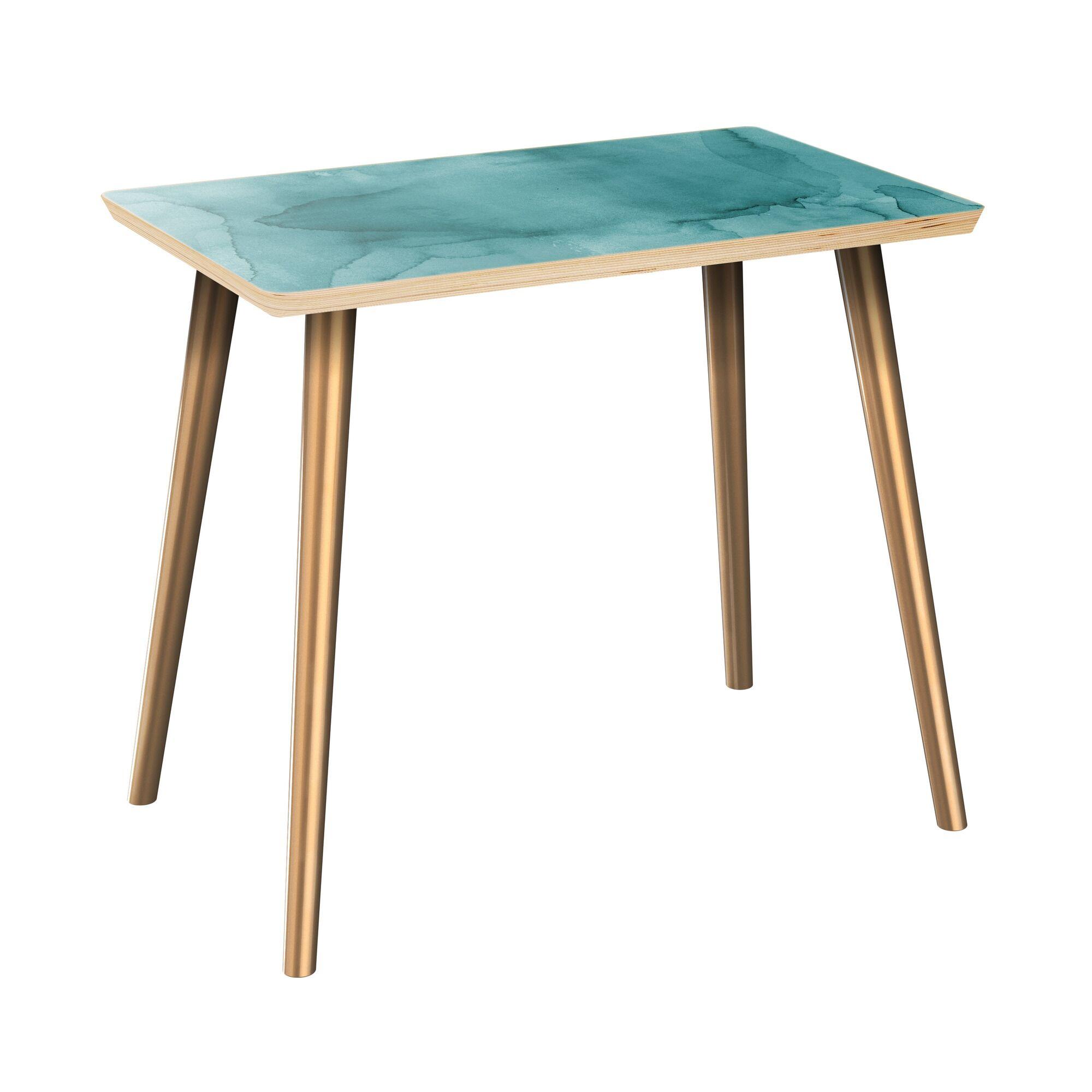 Jaqueline End Table Table Top Boarder Color: Natural, Table Base Color: Brass, Table Top Color: Gray/Black