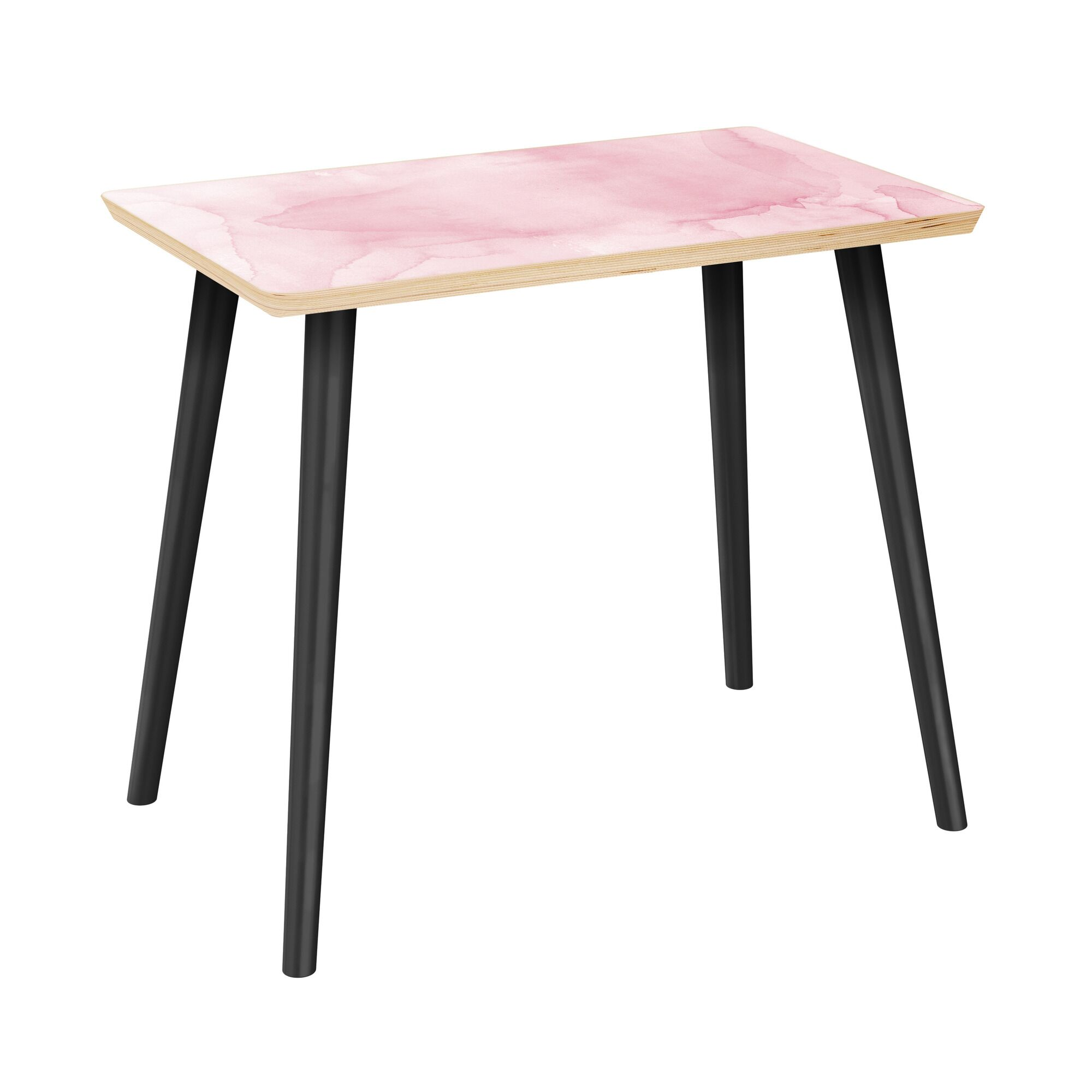 Jaqueline End Table Table Top Boarder Color: Natural, Table Base Color: Black, Table Top Color: Gray/Black