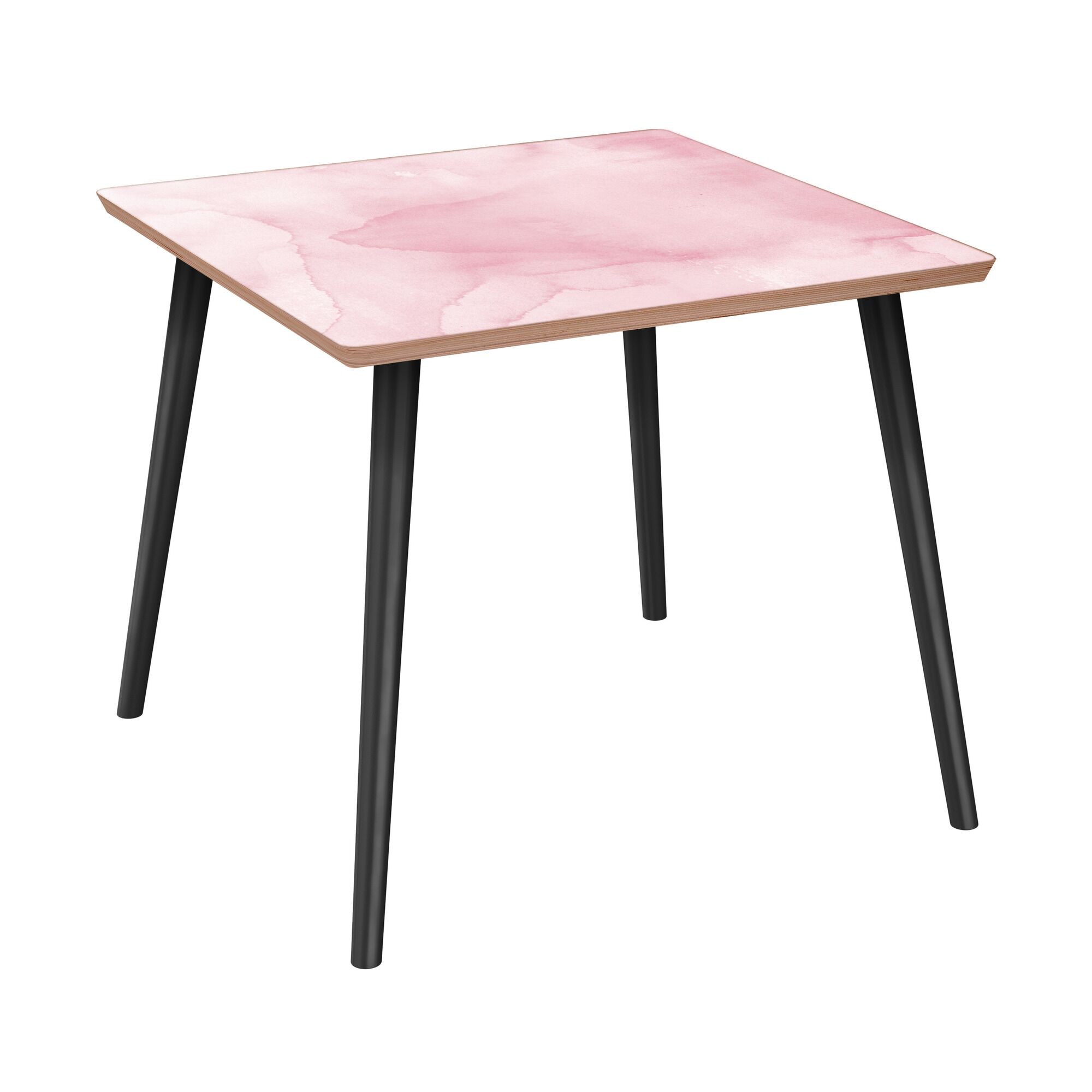 Ratzlaff End Table Table Base Color: Black, Table Top Boarder Color: Walnut, Table Top Color: Pink