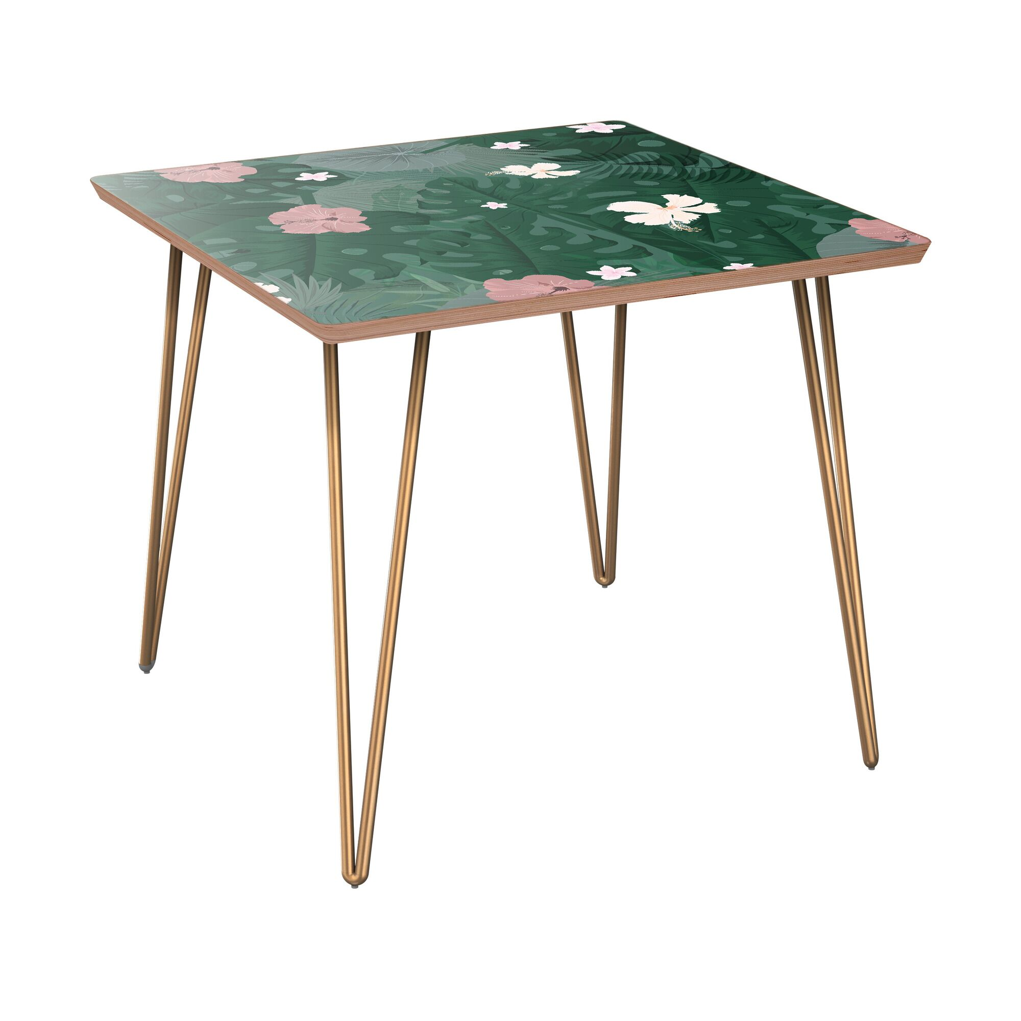 Knipp End Table Table Base Color: Brass, Table Top Color: Walnut