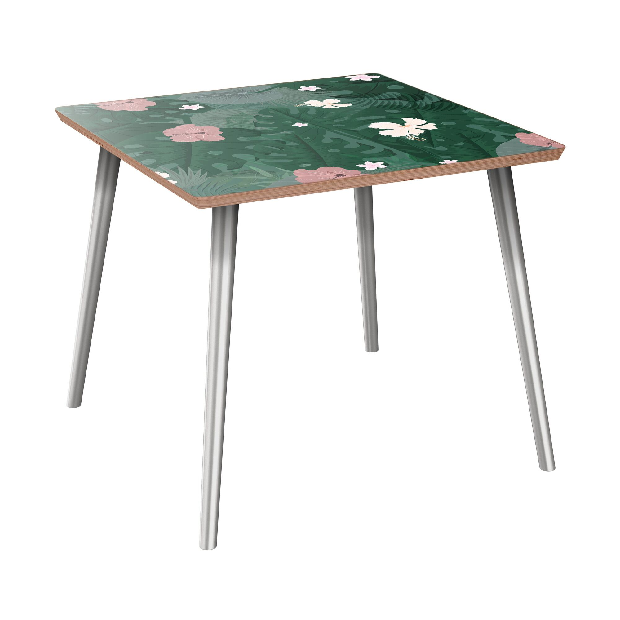 Keystone End Table Table Top Color: Walnut, Table Base Color: Chrome