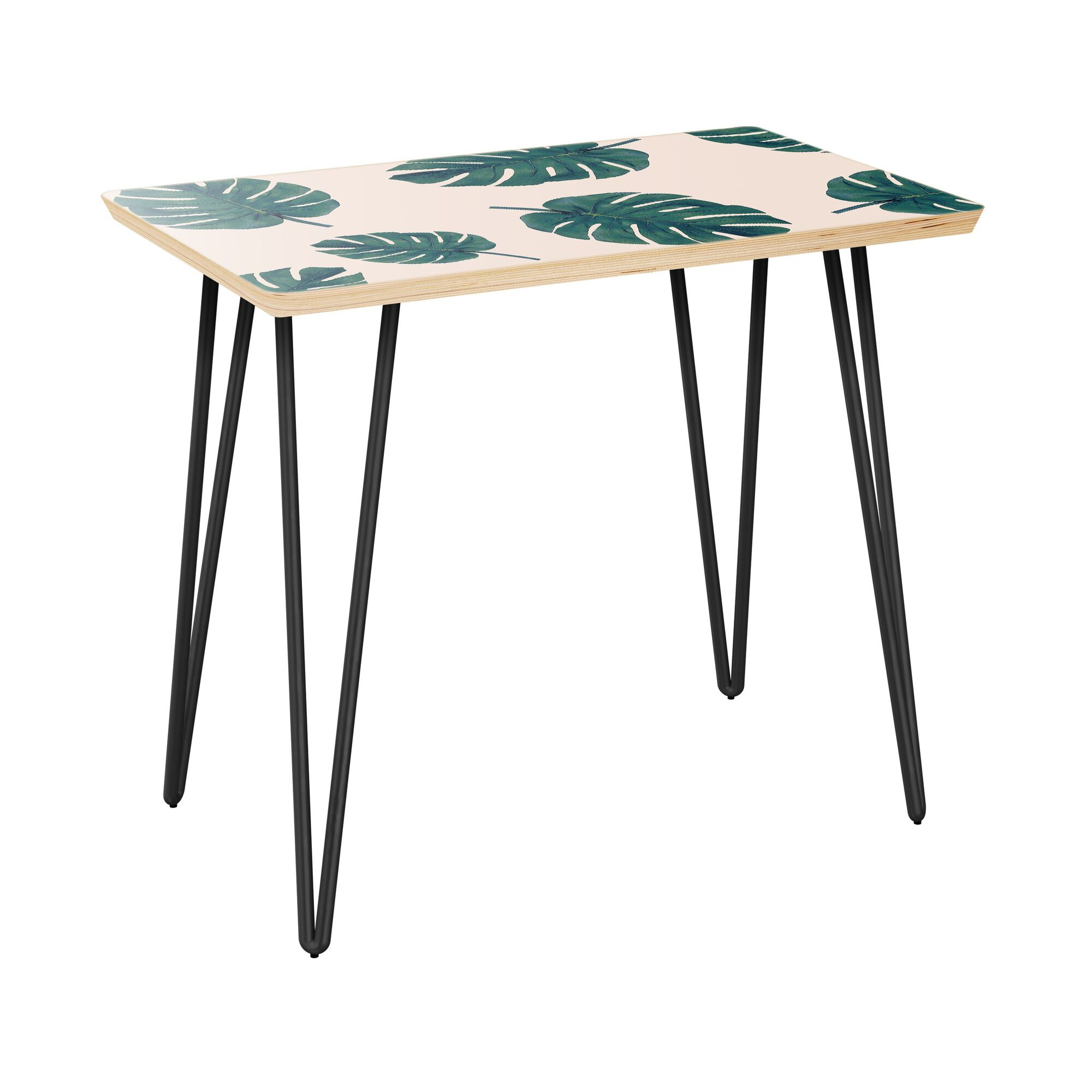 Konner End Table Table Top Color: Natural, Table Base Color: Black