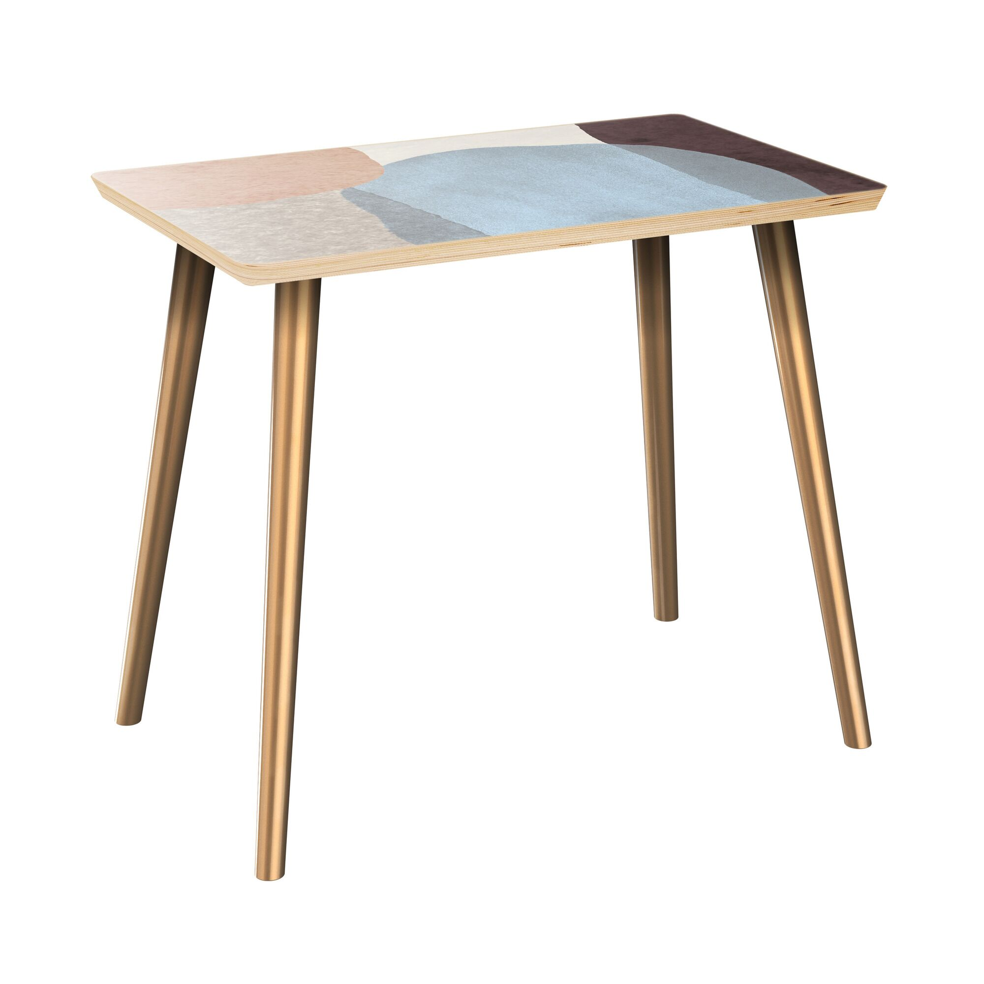 Faircloth End Table Table Top Color: Natural, Table Base Color: Brass
