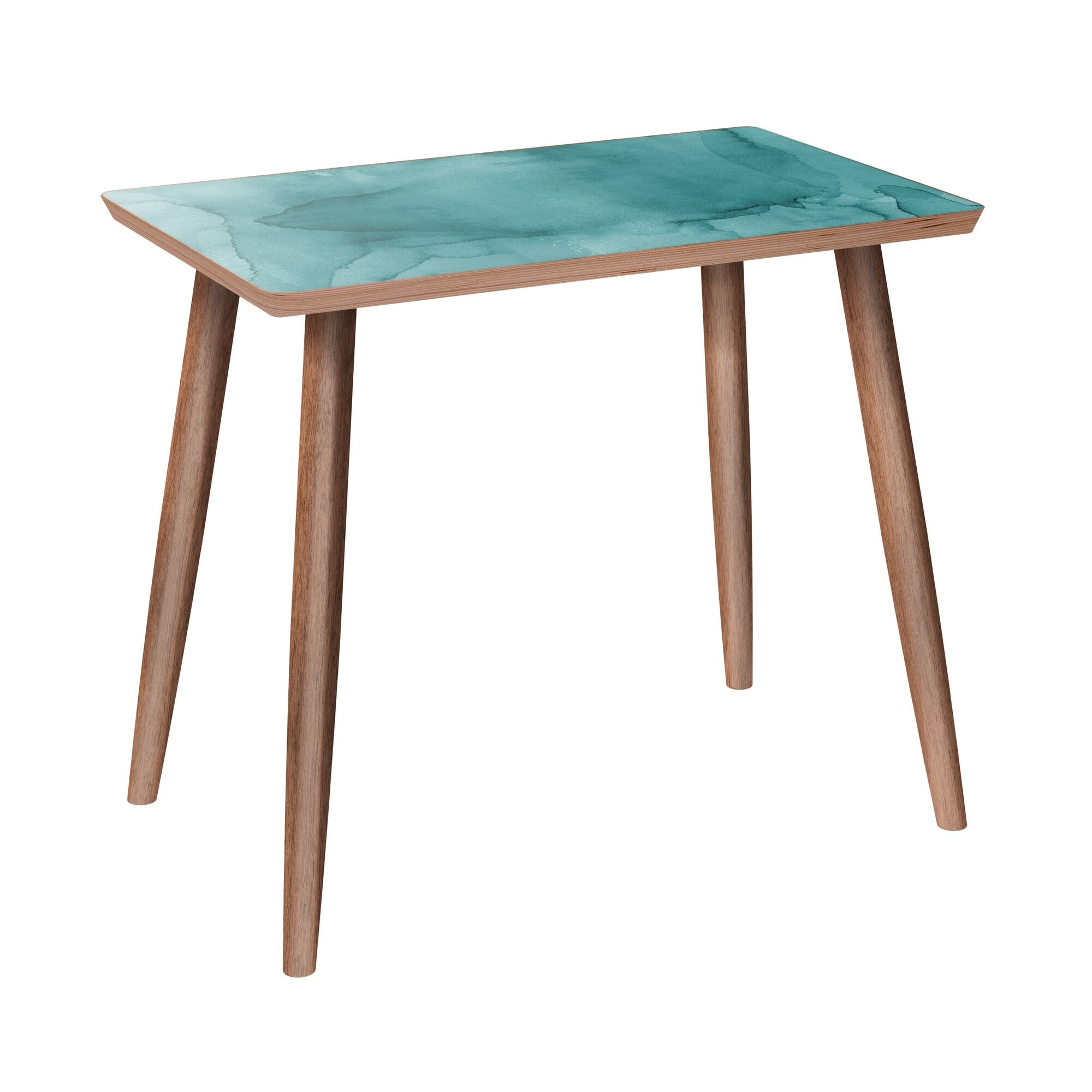 Marianmade End Table Table Base Color: Walnut, Table Top Color: Pink
