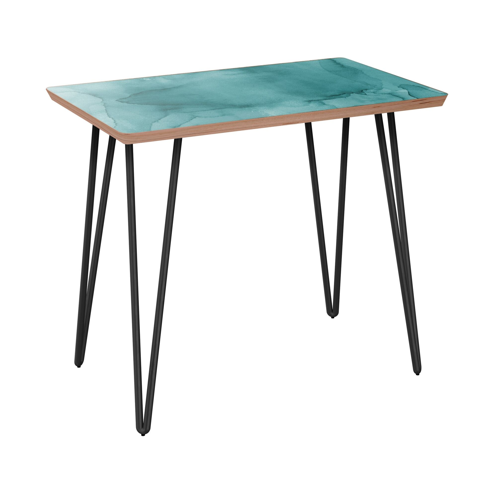 Kalona End Table Table Base Color: Black, Table Top Boarder Color: Walnut, Table Top Color: Turquoise