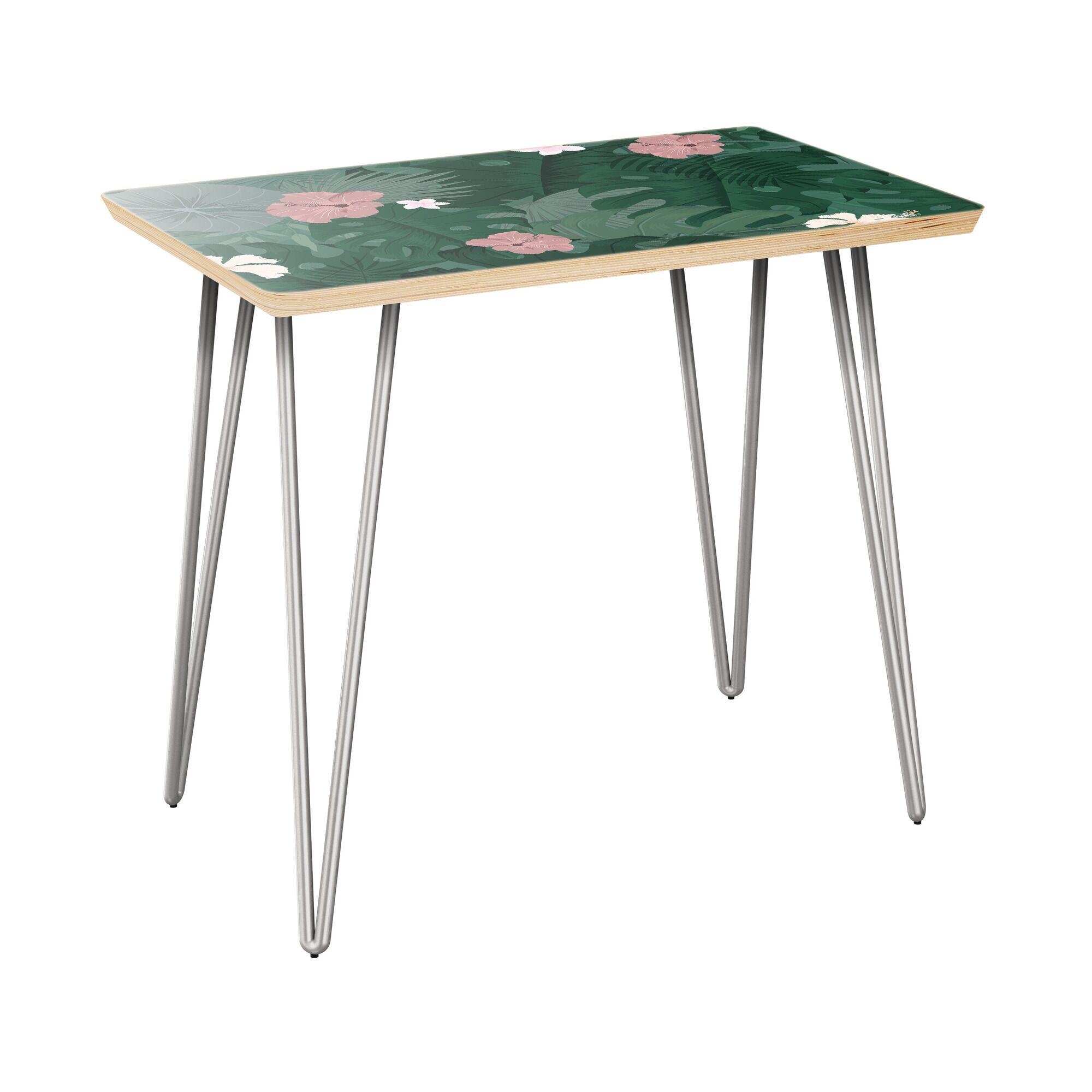 Rau End Table Table Base Color: Chrome, Table Top Color: Natural