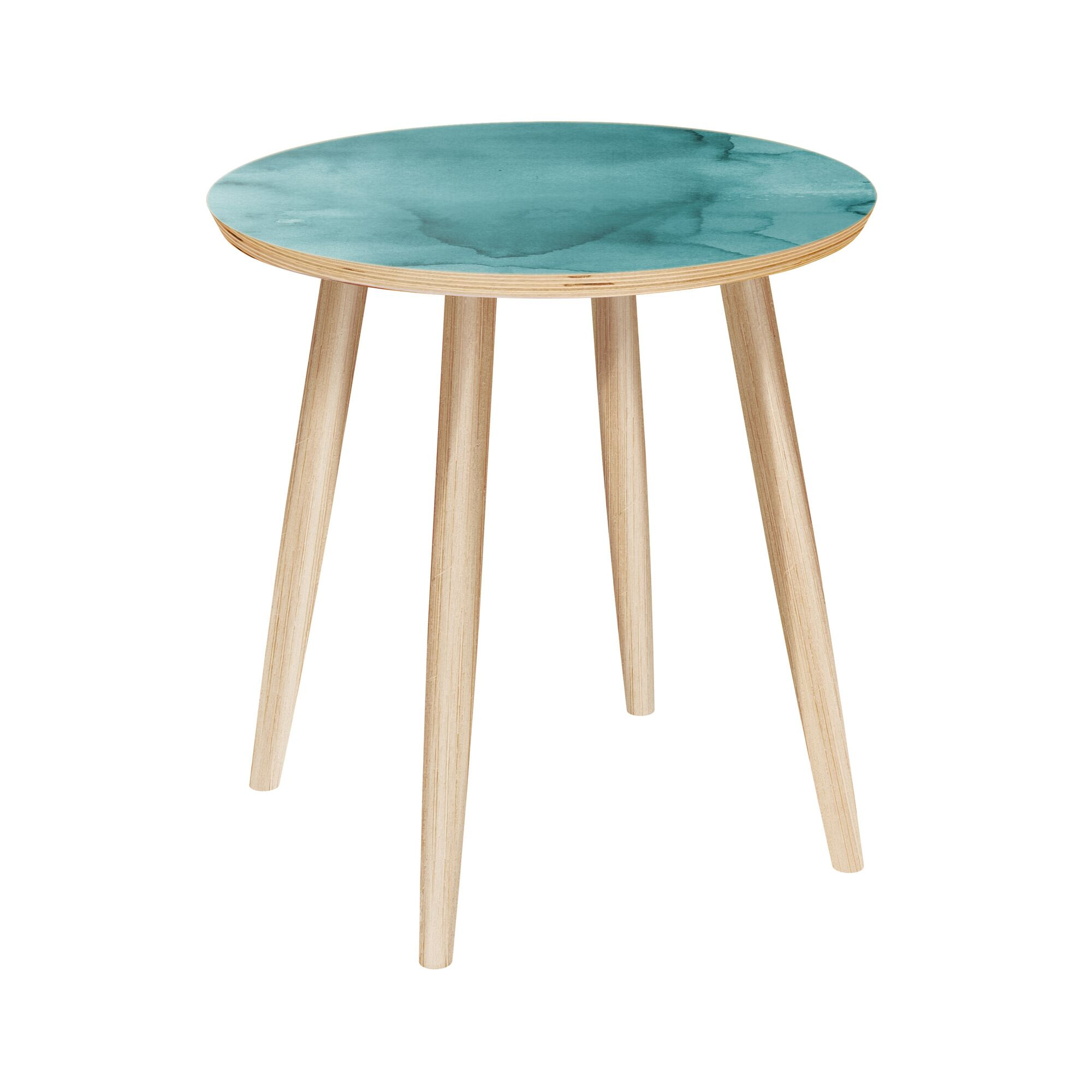 Larene End Table Table Base Color: Natural, Table Top Color: Turquoise