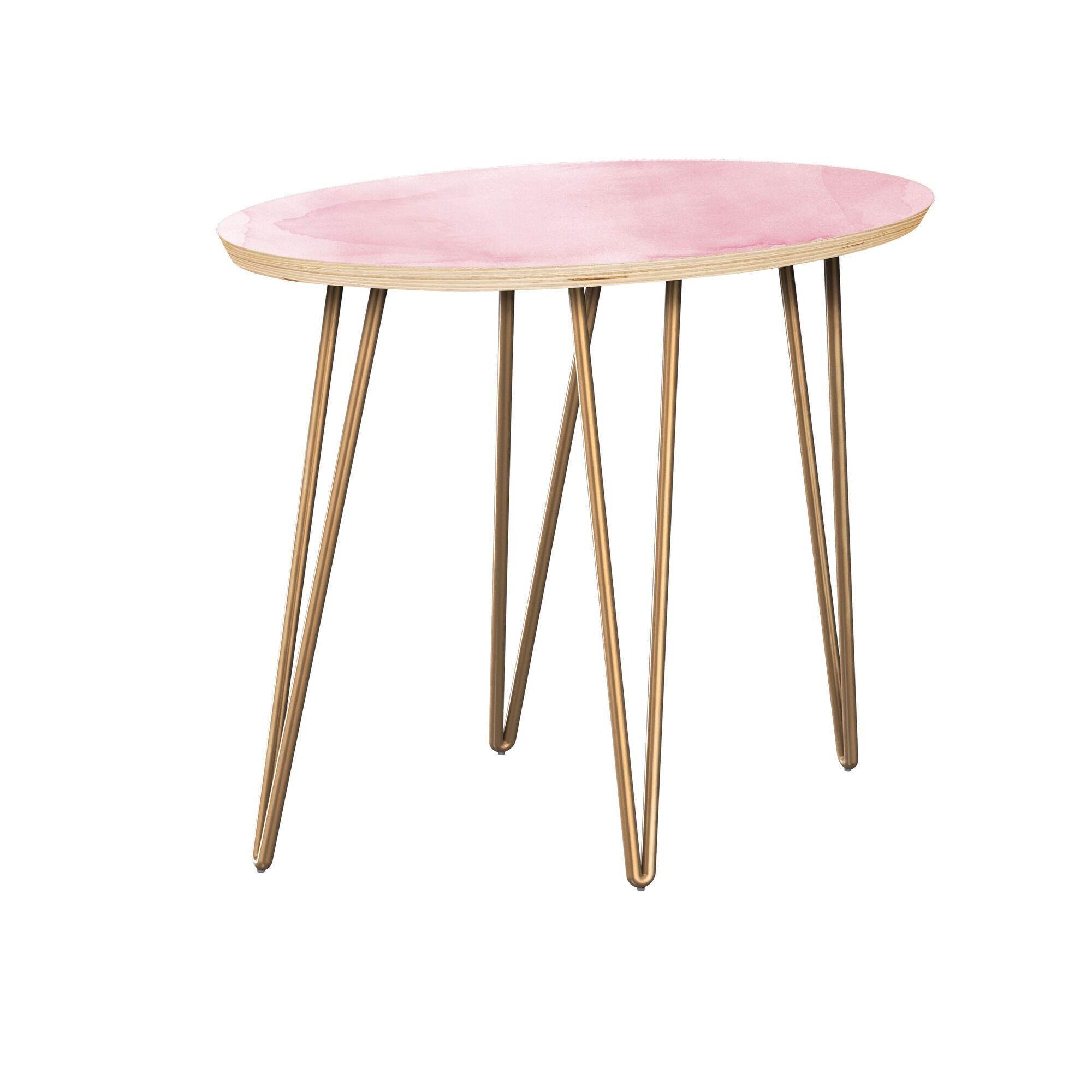 Jarred End Table Table Top Boarder Color: Natural, Table Base Color: Brass, Table Top Color: Gray/Black