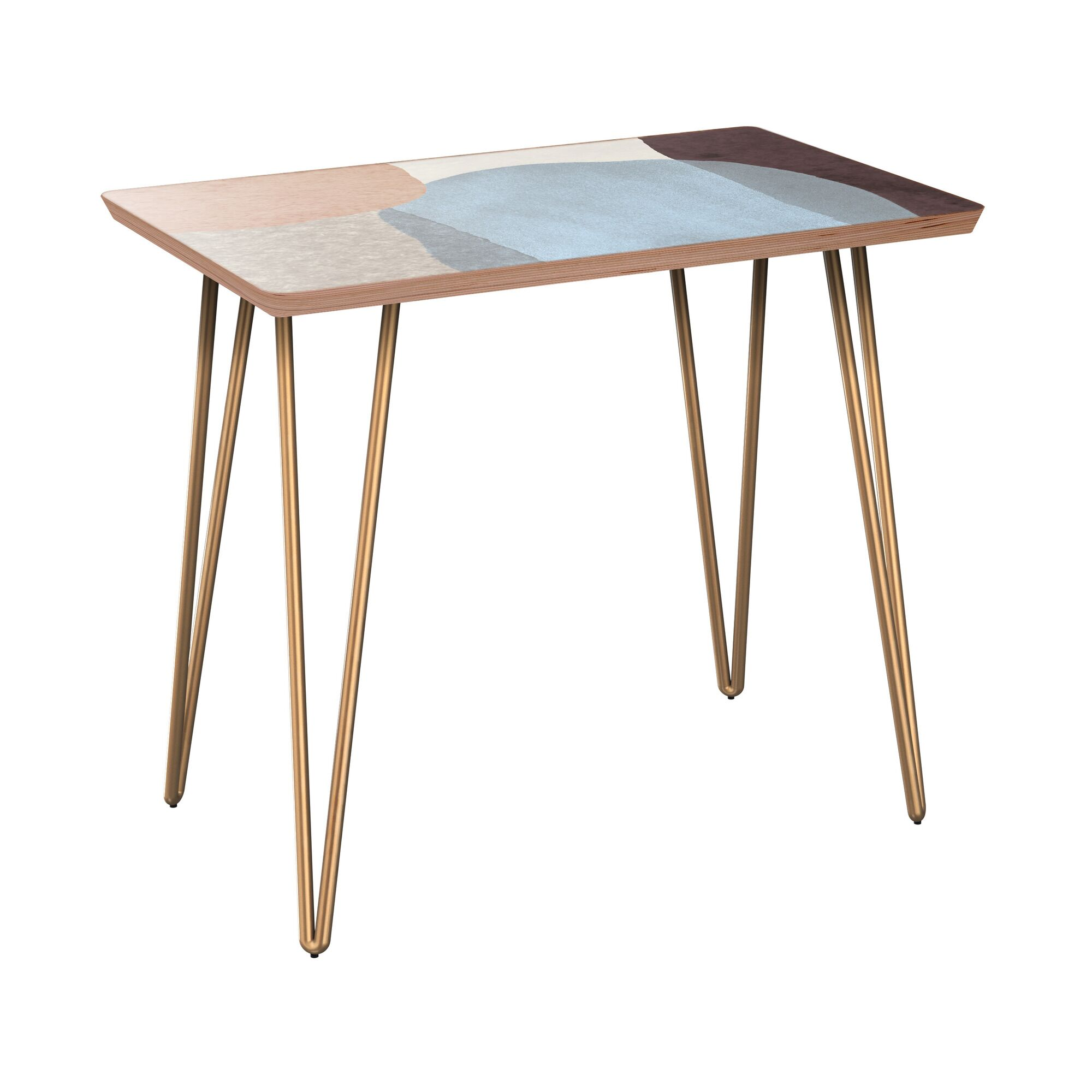 Failand End Table Table Base Color: Brass, Table Top Color: Walnut