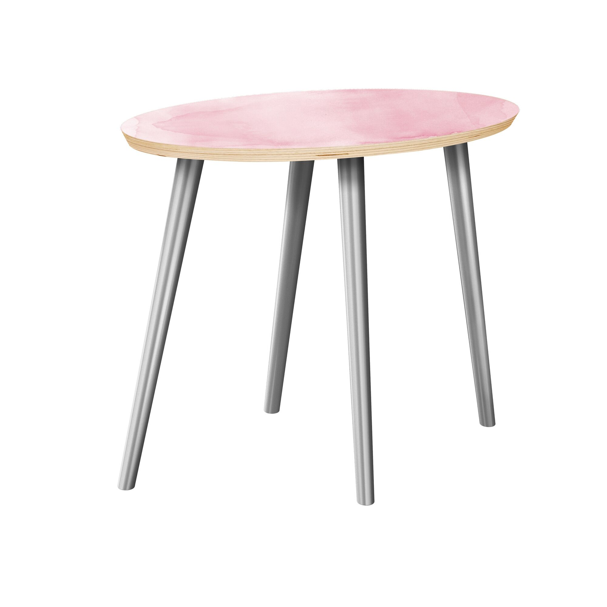 Jarret End Table Table Top Boarder Color: Natural, Table Base Color: Chrome, Table Top Color: Gray/Black