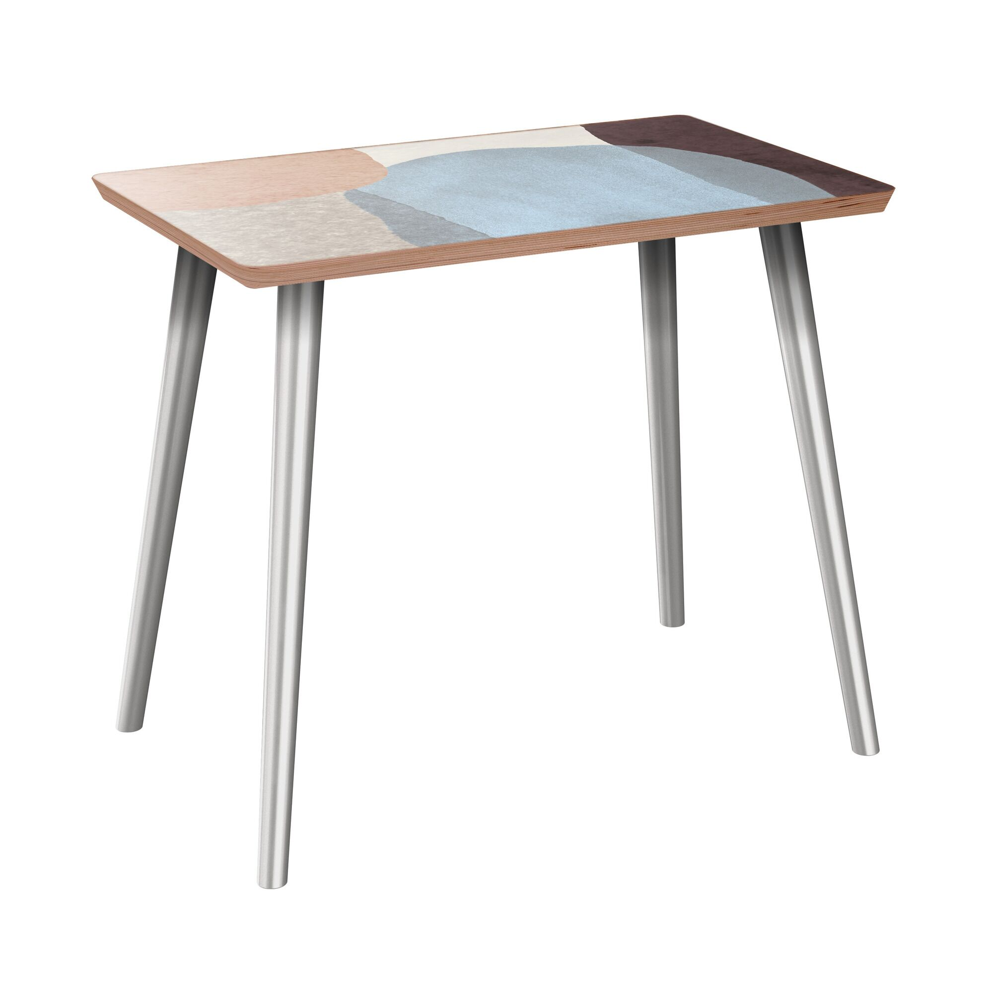 Faircloth End Table Table Base Color: Chrome, Table Top Color: Walnut