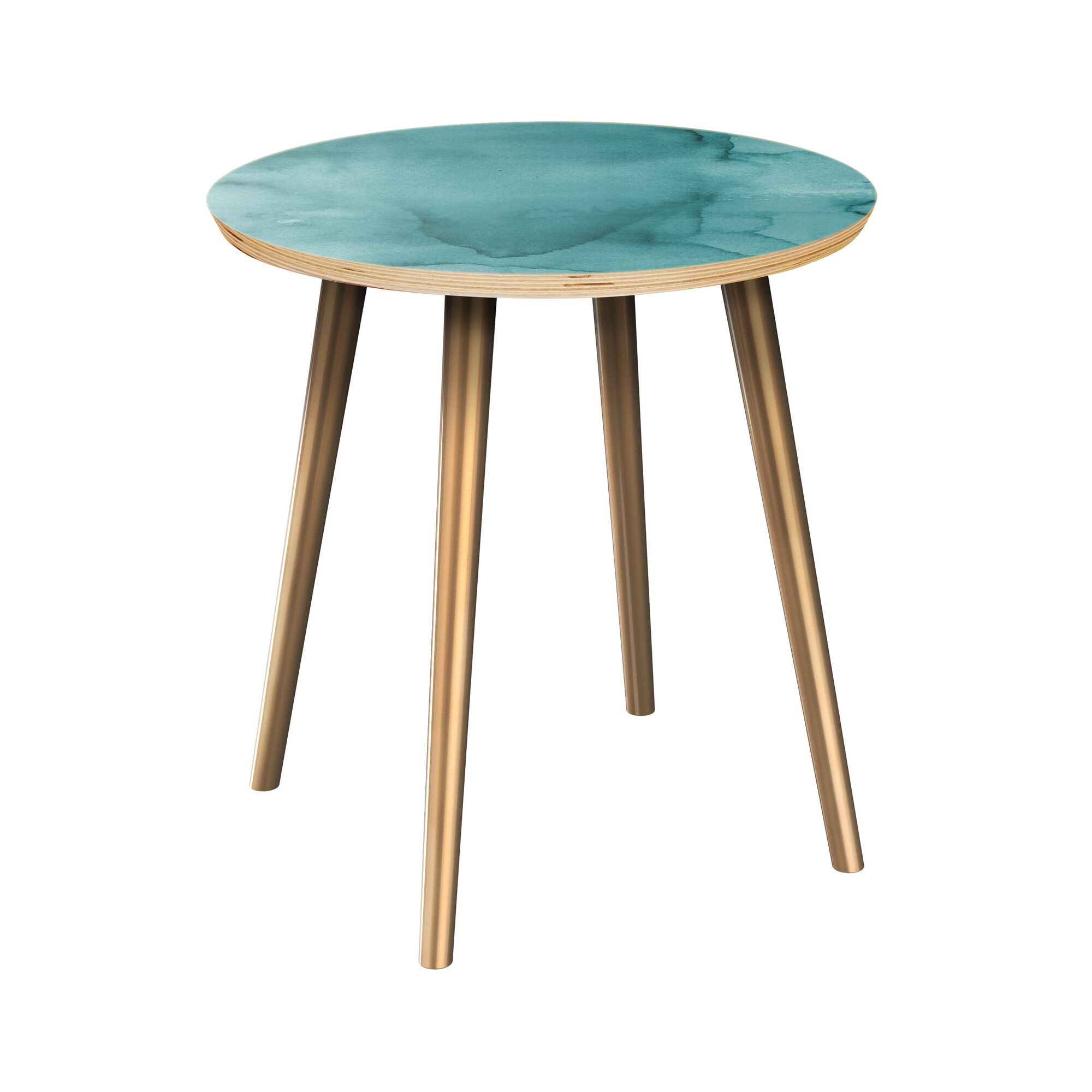 Rasnick End Table Table Top Boarder Color: Natural, Table Base Color: Brass, Table Top Color: Turquoise