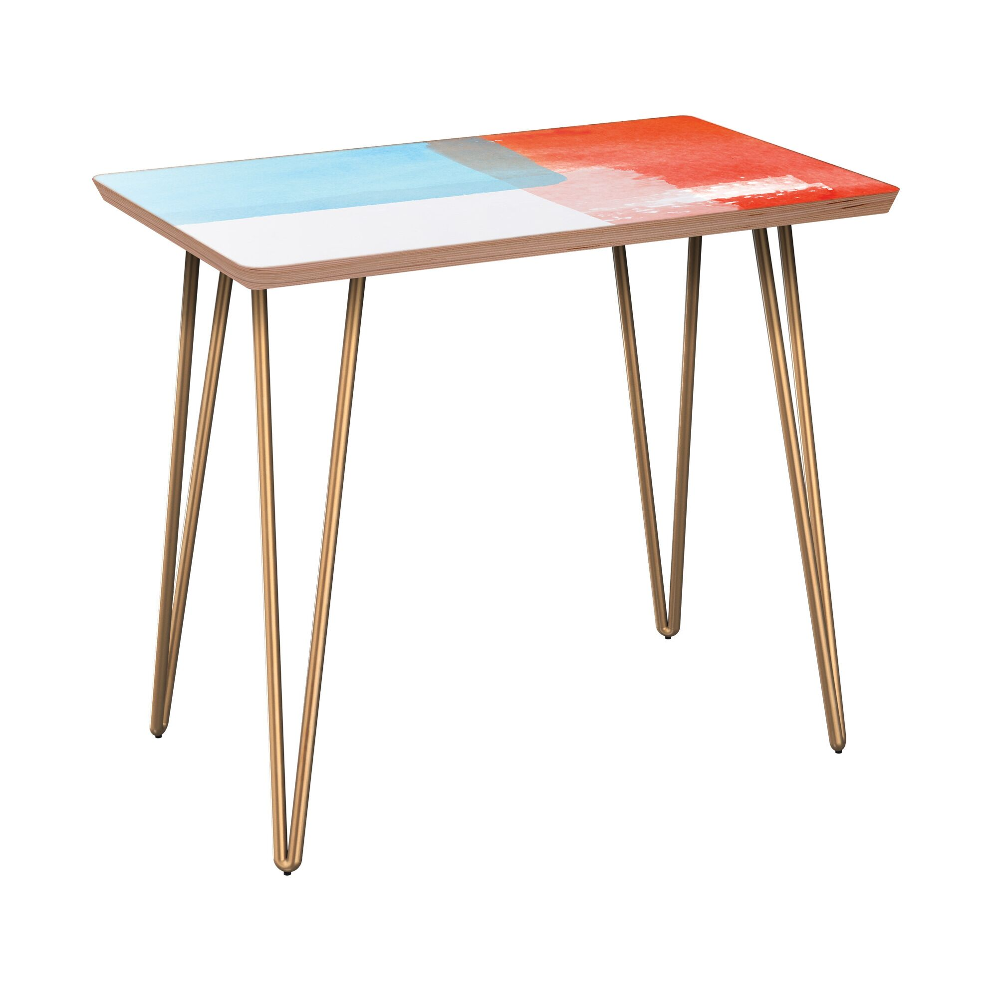 Esmont End Table Table Base Color: Brass, Table Top Color: Walnut