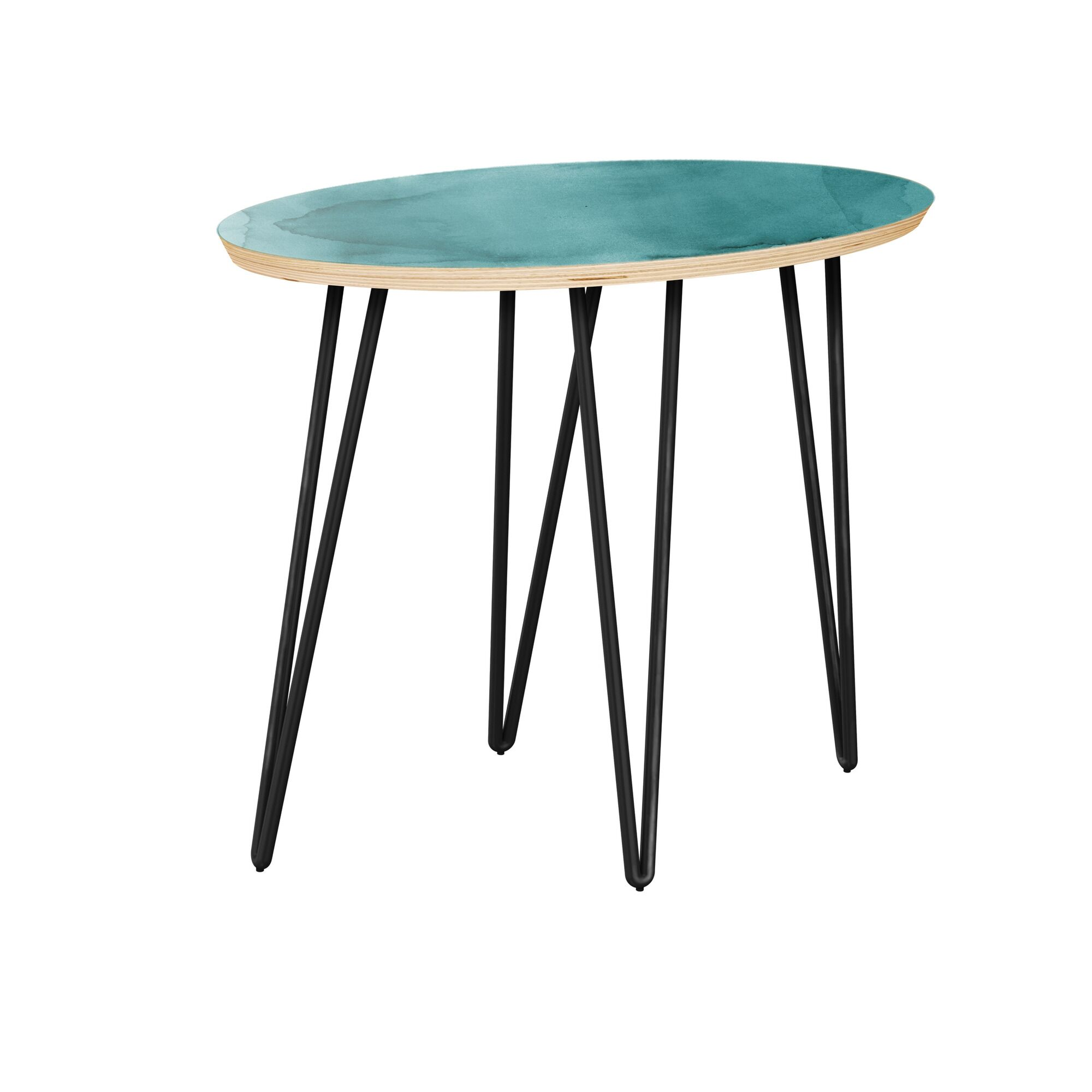 Jarred End Table Table Top Boarder Color: Natural, Table Base Color: Black, Table Top Color: Pink