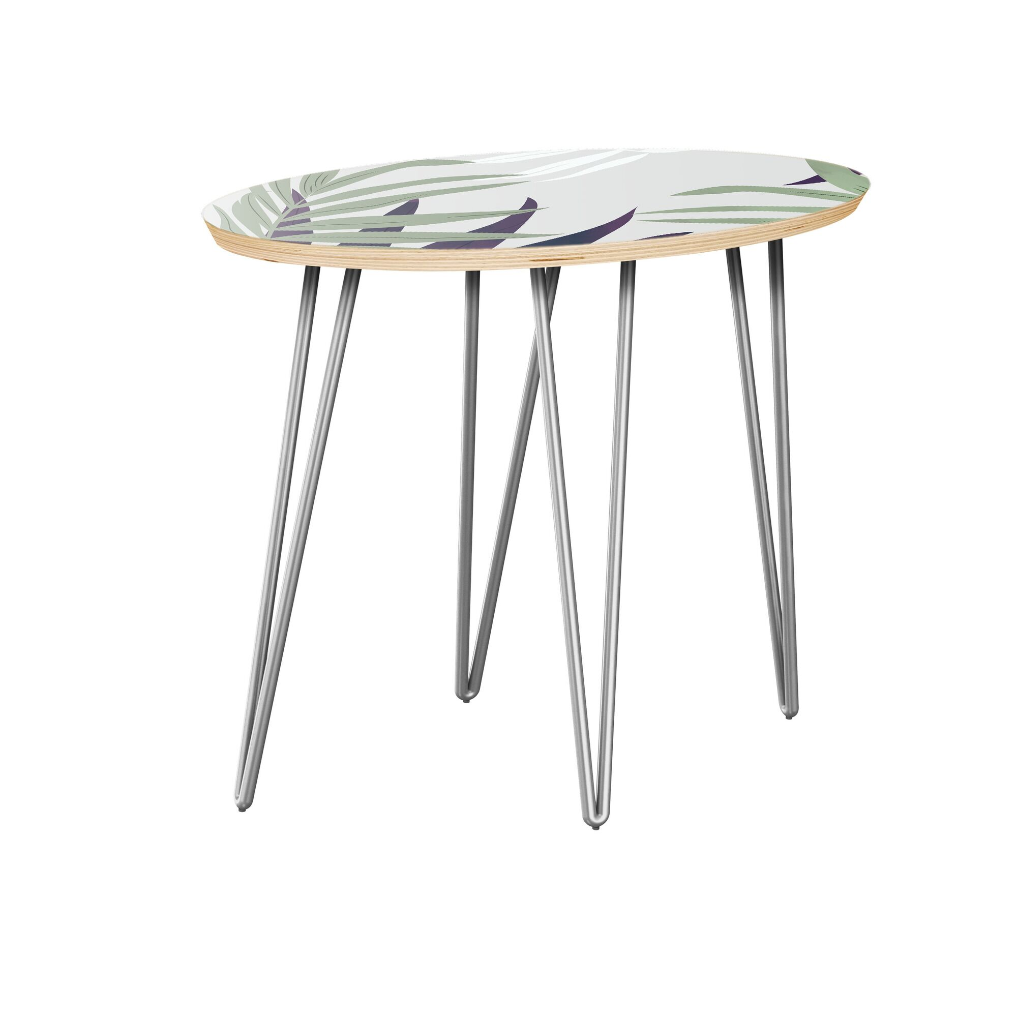 Kotomo End Table Table Top Color: Natural, Table Base Color: Chrome
