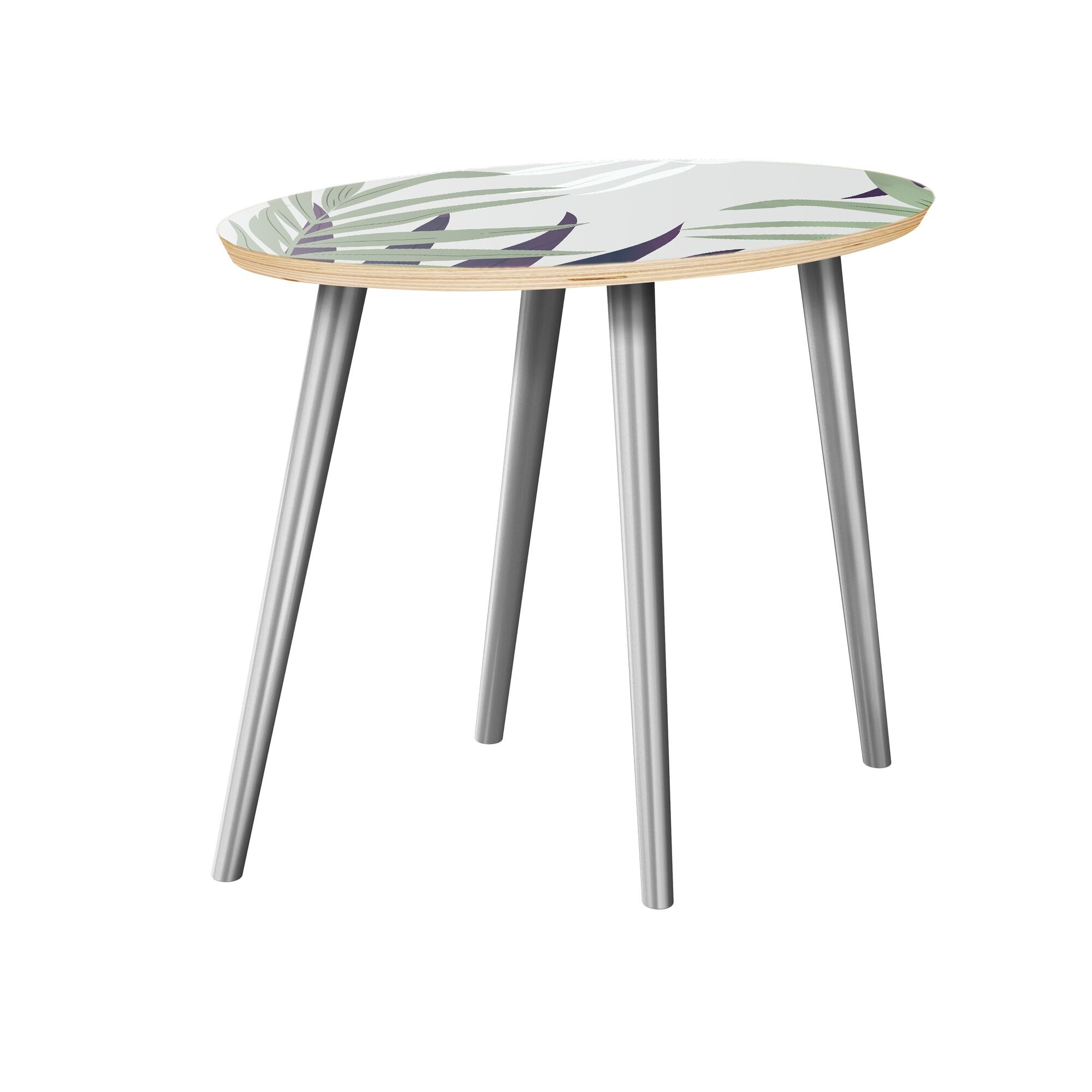 Koutio End Table Table Top Color: Natural, Table Base Color: Chrome