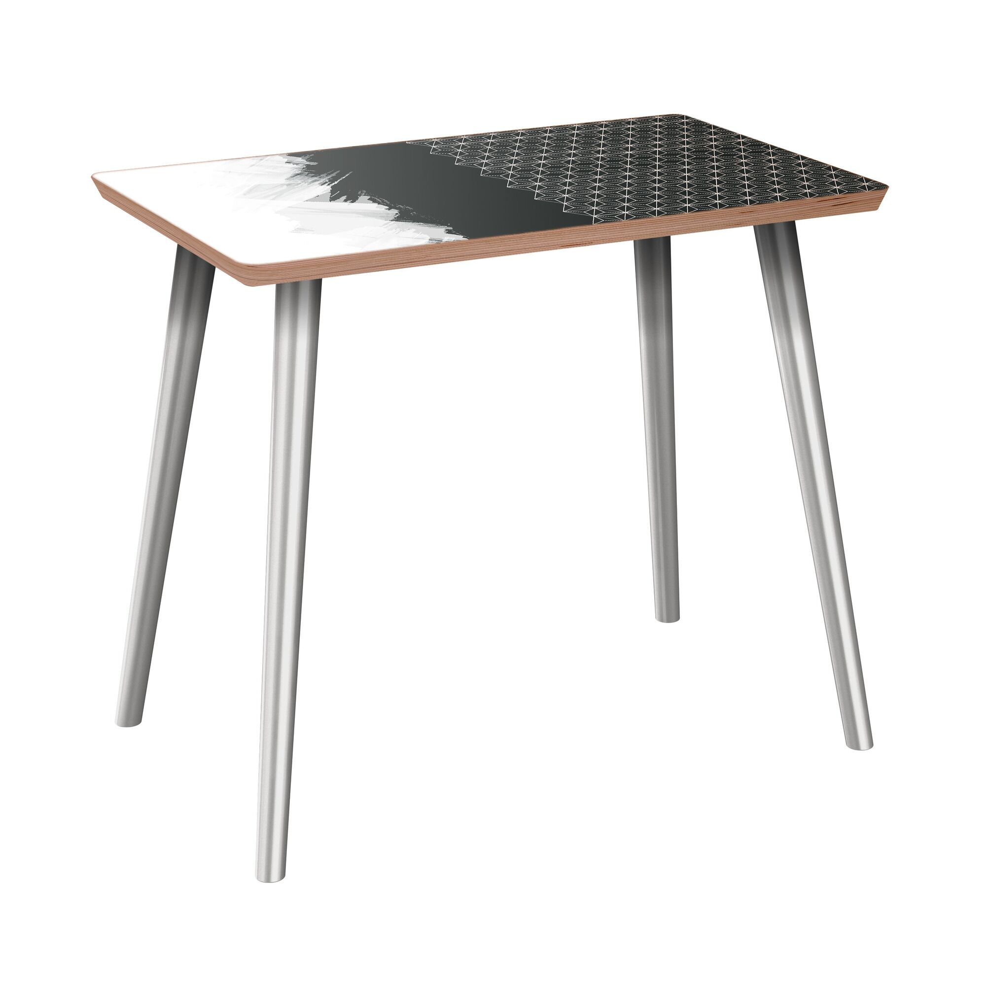 Fagundes End Table Table Base Color: Chrome, Table Top Color: Walnut