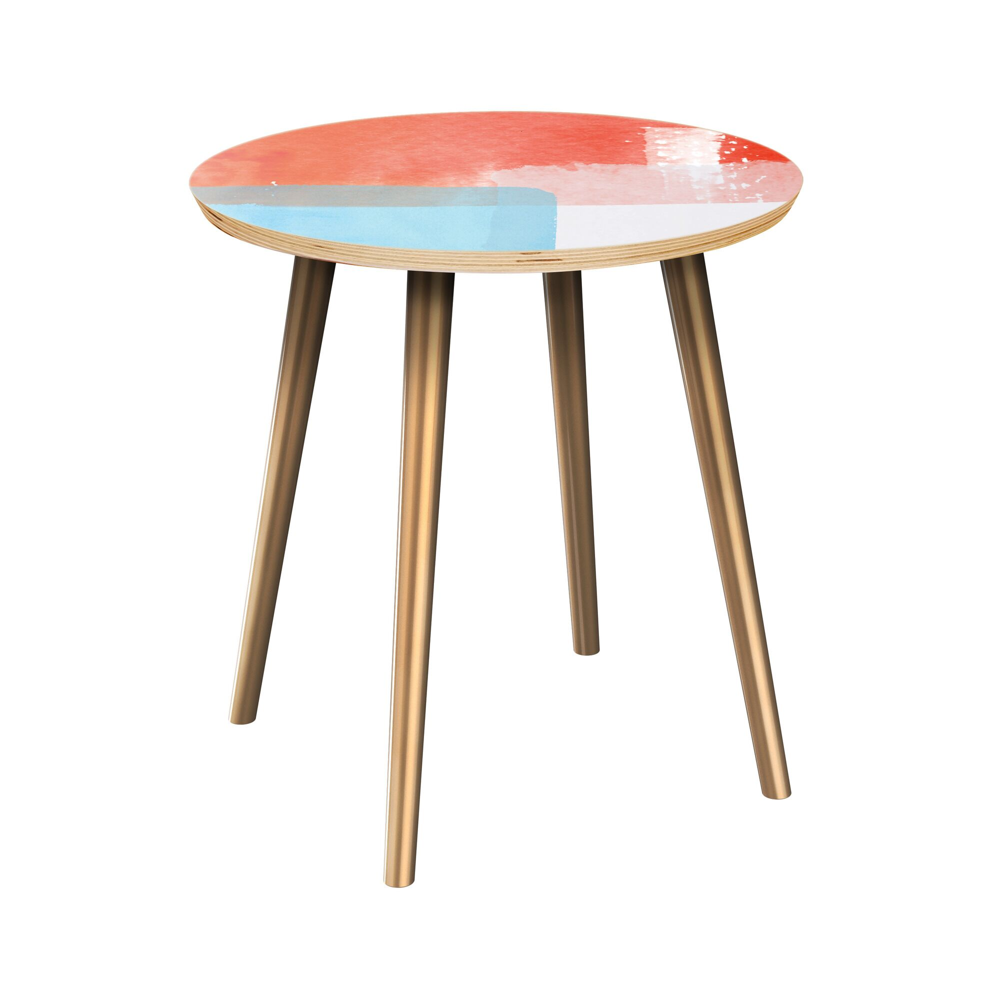 Etherton End Table Table Top Color: Natural, Table Base Color: Brass