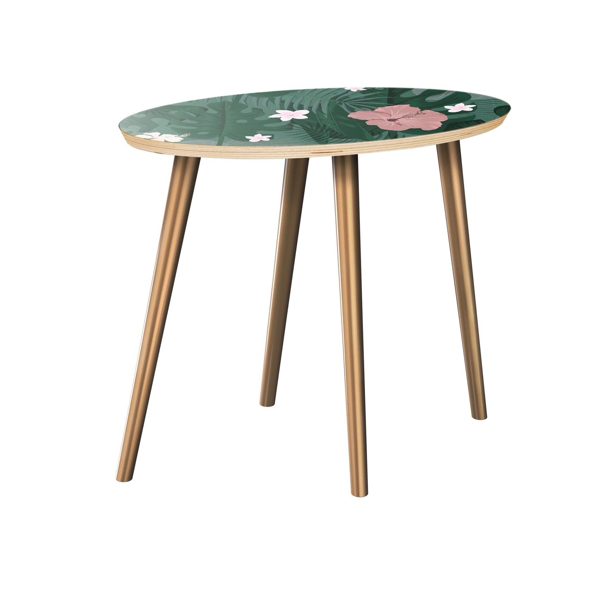Killdeer End Table Table Top Color: Natural, Table Base Color: Brass