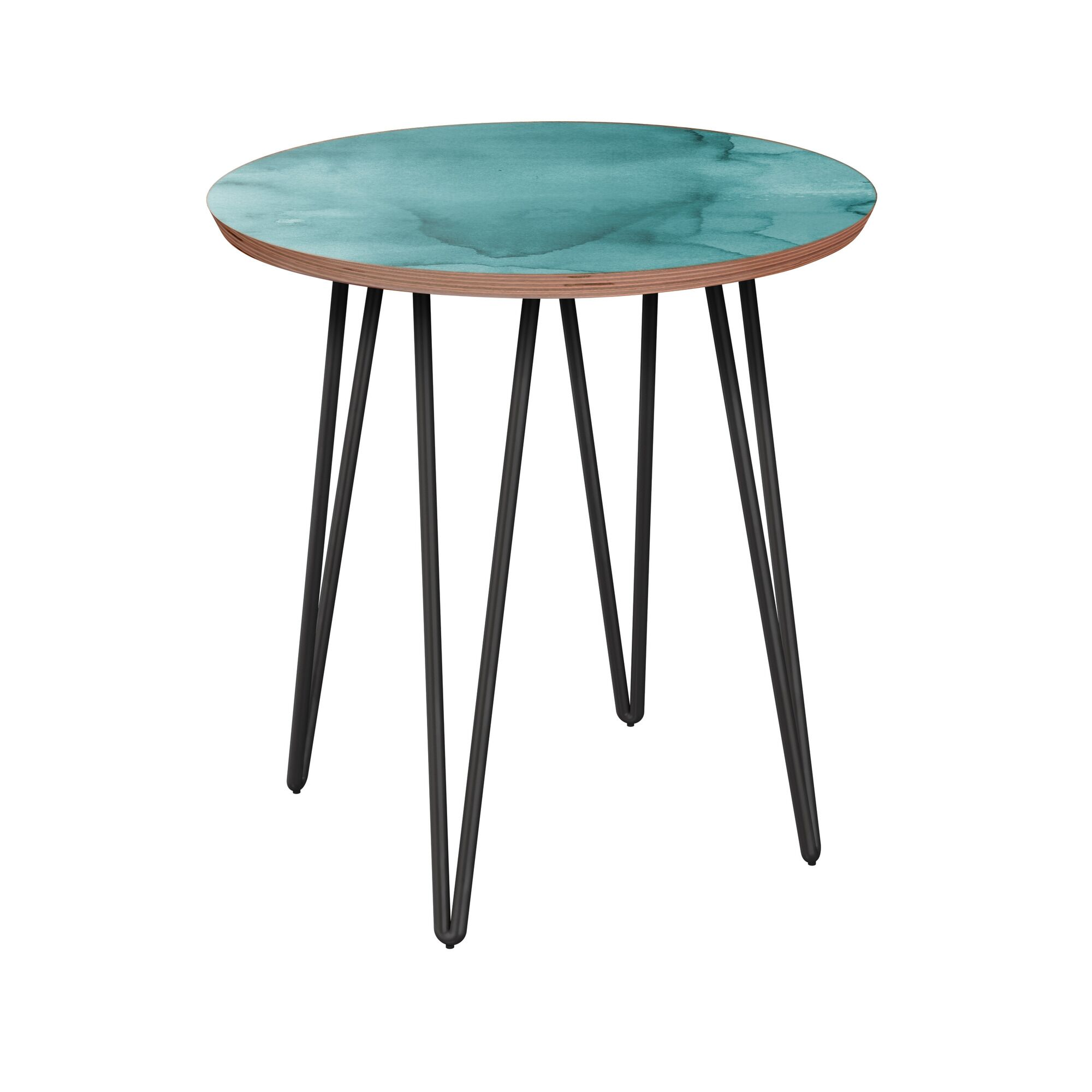 Raskin End Table Table Base Color: Black, Table Top Boarder Color: Walnut, Table Top Color: Turquoise
