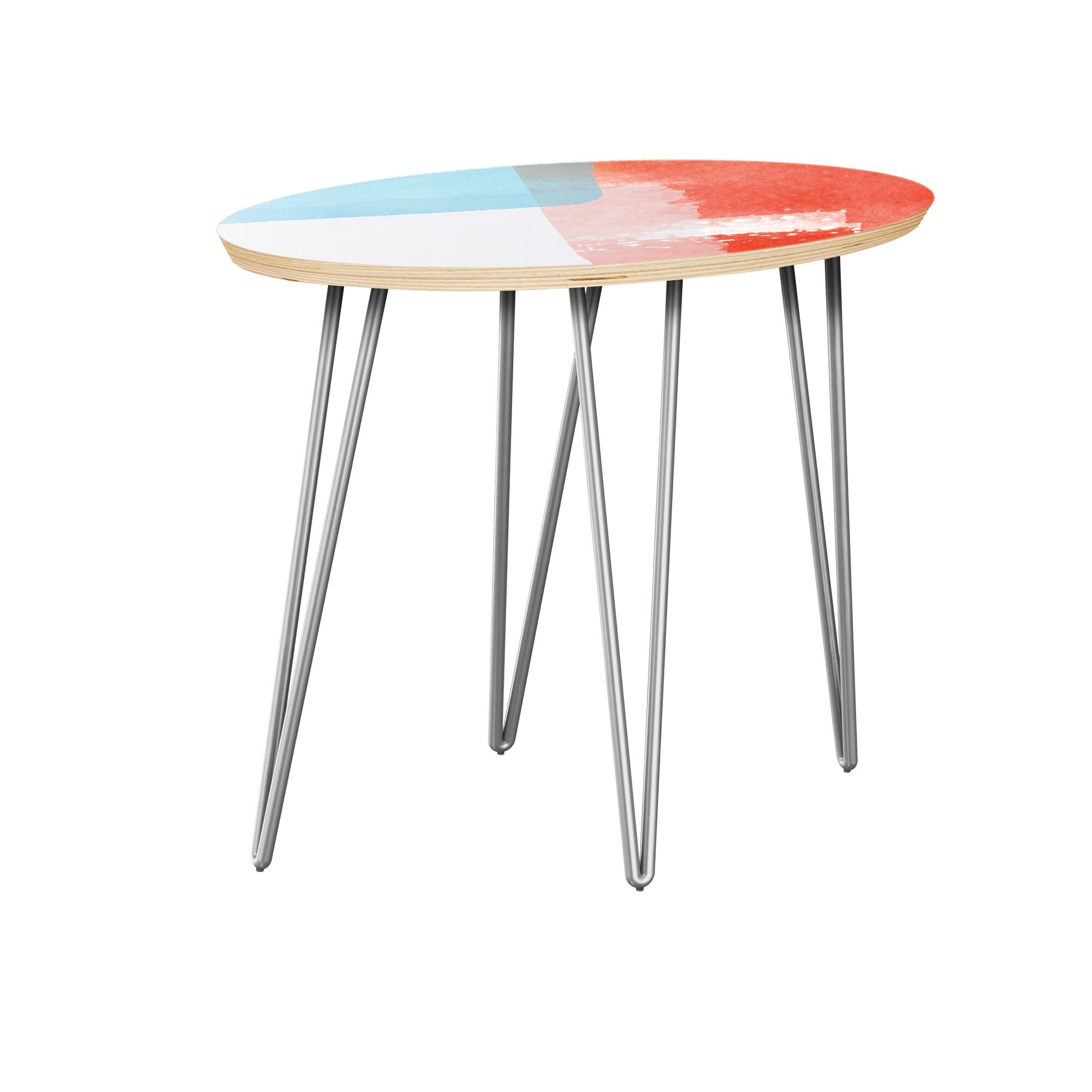 Fackler End Table Table Top Color: Natural, Table Base Color: Chrome