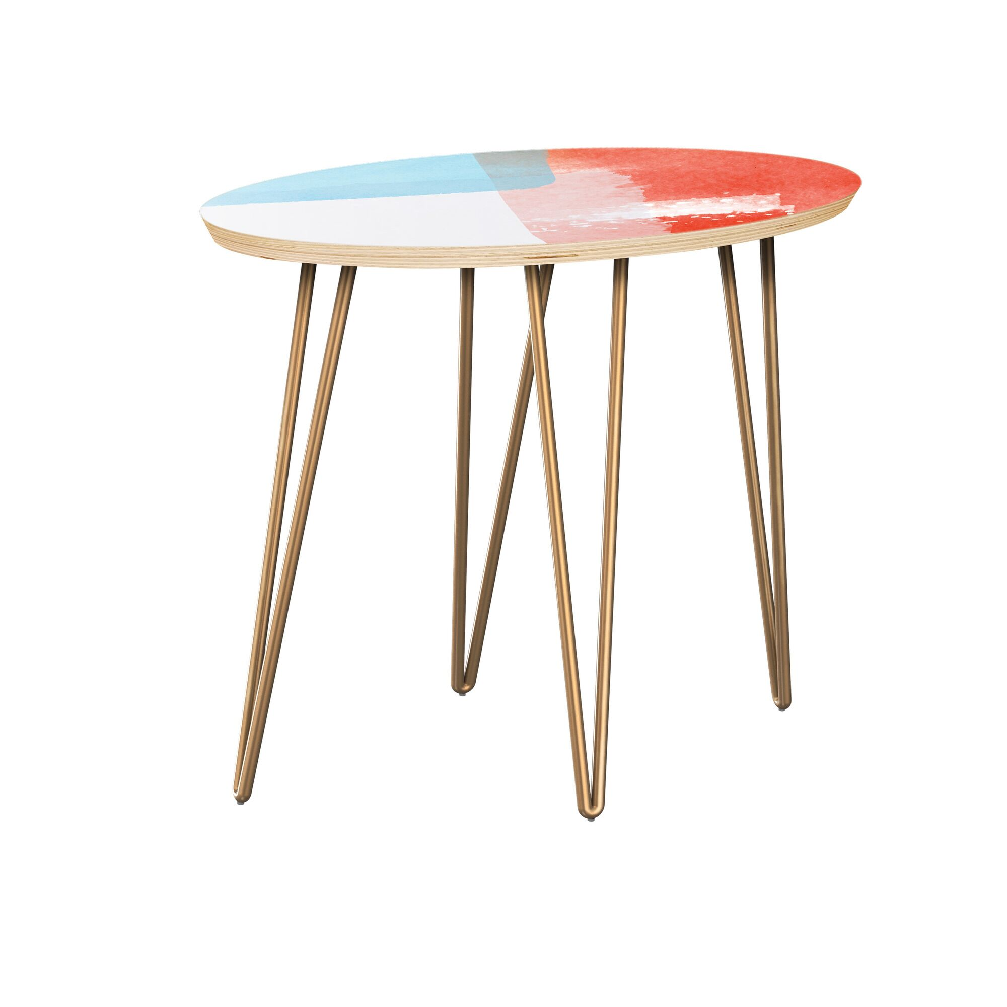 Fackler End Table Table Top Color: Natural, Table Base Color: Brass