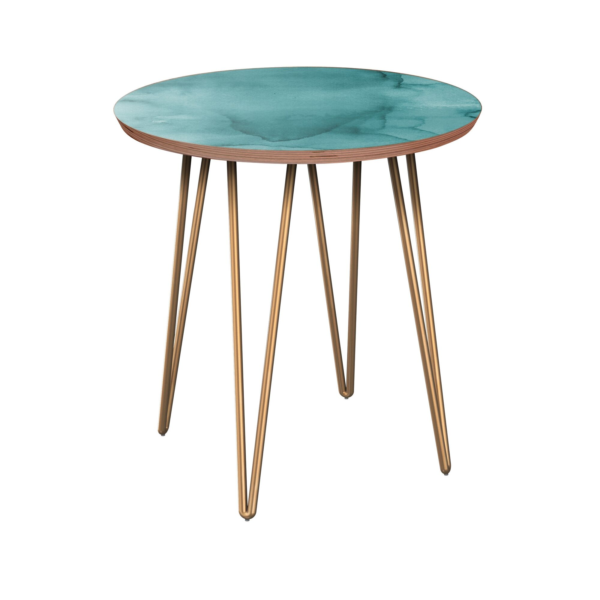 Raskin End Table Table Base Color: Brass, Table Top Boarder Color: Walnut, Table Top Color: Turquoise