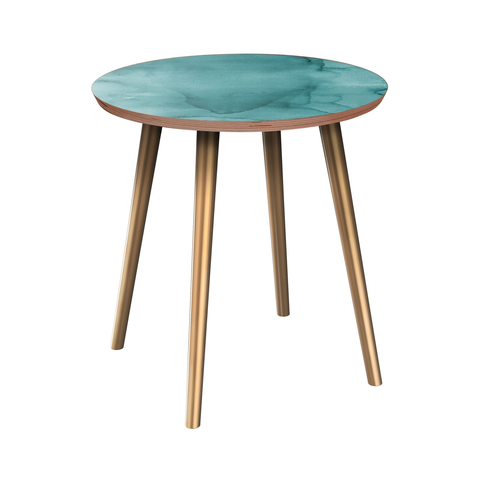 Rasnick End Table Table Base Color: Brass, Table Top Boarder Color: Walnut, Table Top Color: Pink