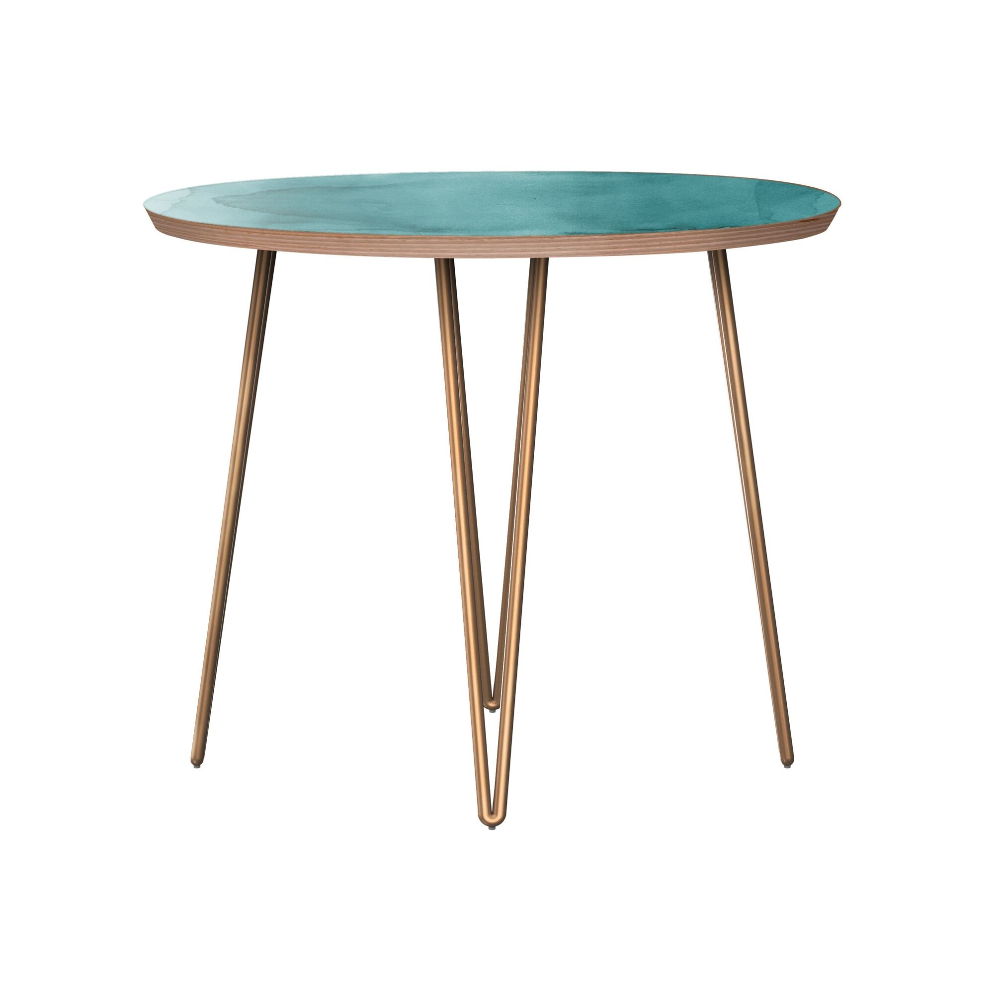 Jarred End Table Table Base Color: Brass, Table Top Boarder Color: Walnut, Table Top Color: Pink