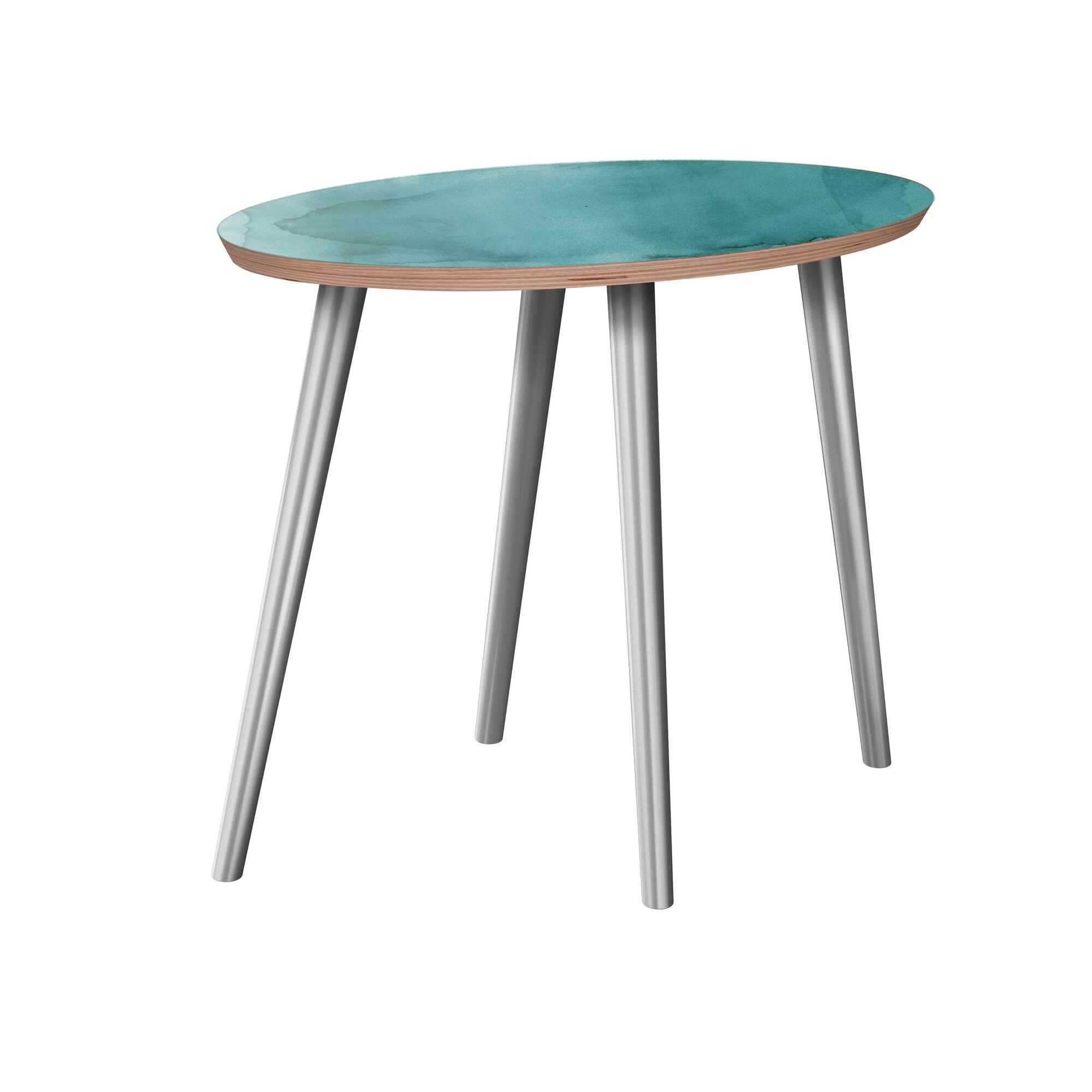 Jarret End Table Table Base Color: Chrome, Table Top Boarder Color: Walnut, Table Top Color: Gray/Black