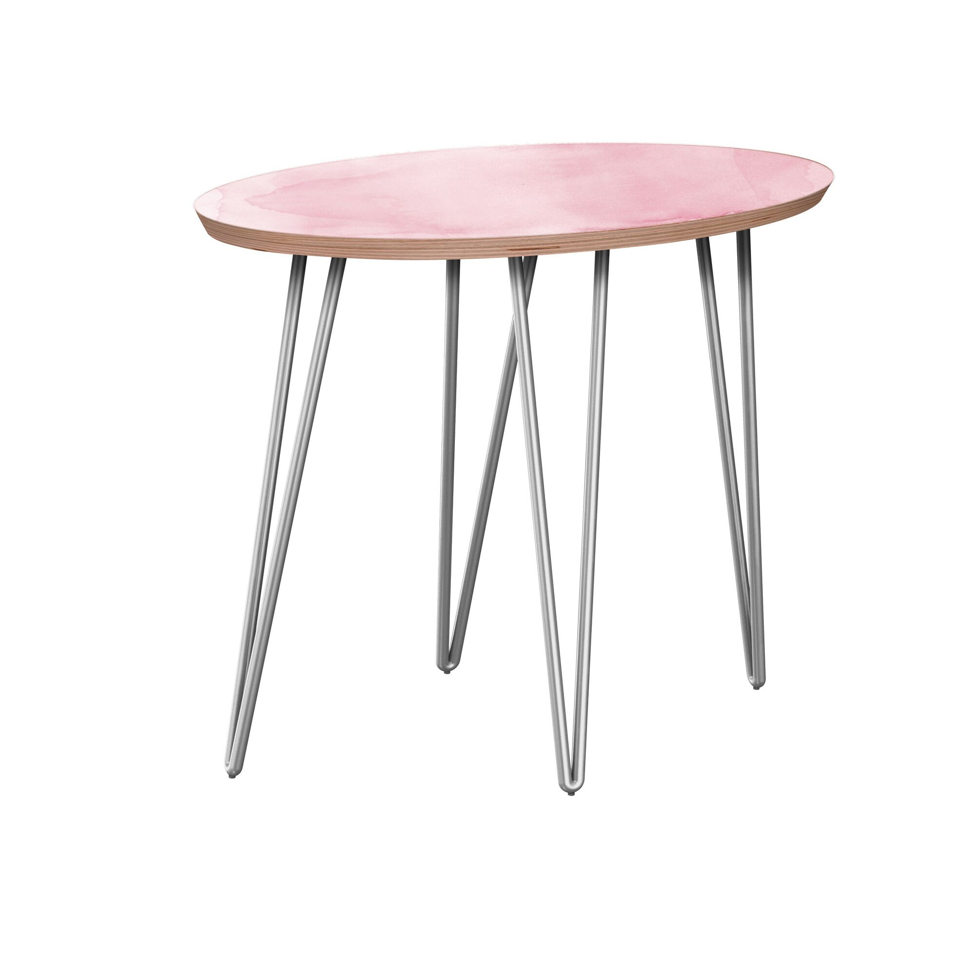 Jarred End Table Table Base Color: Chrome, Table Top Boarder Color: Walnut, Table Top Color: Gray/Black