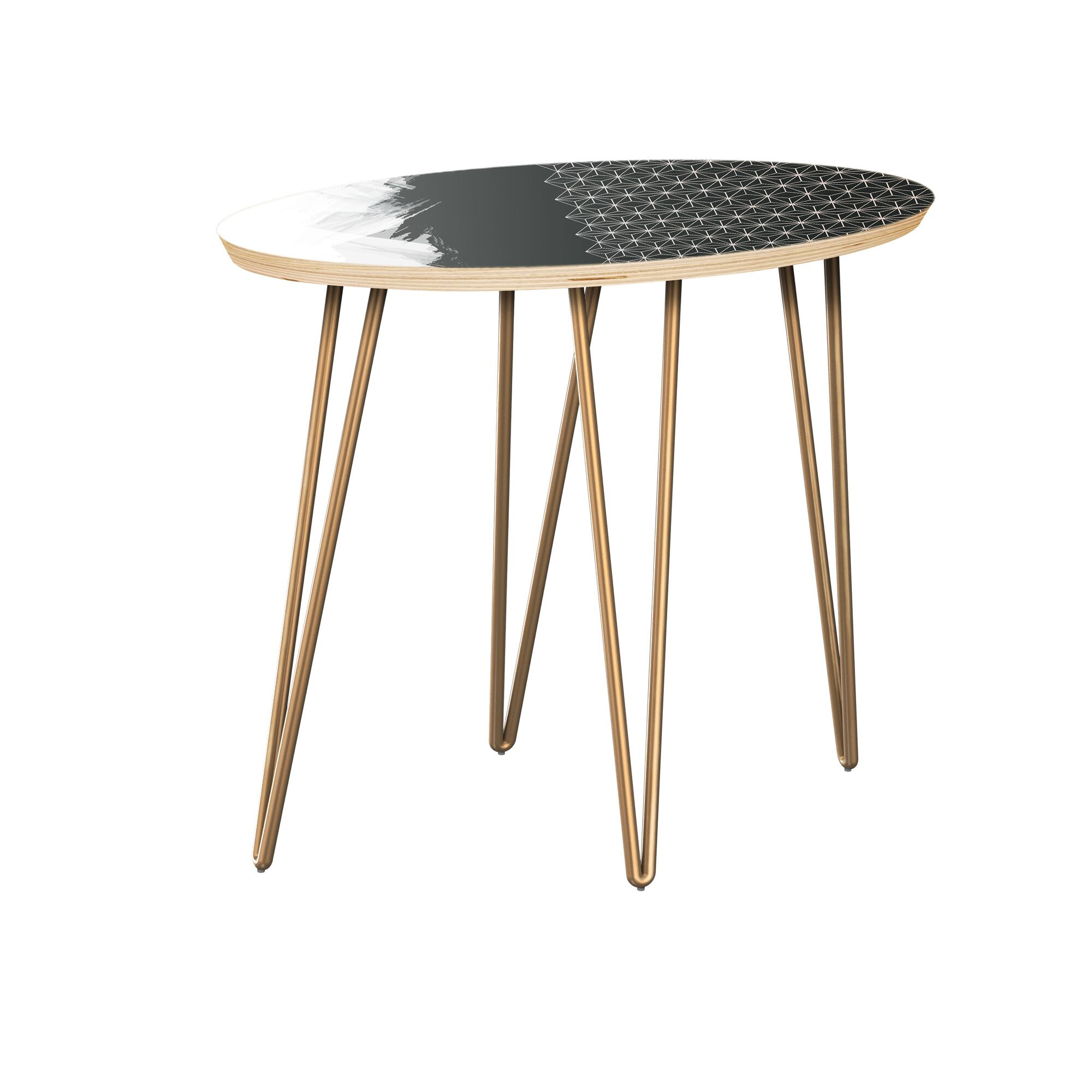 Eyler End Table Table Top Color: Natural, Table Base Color: Brass