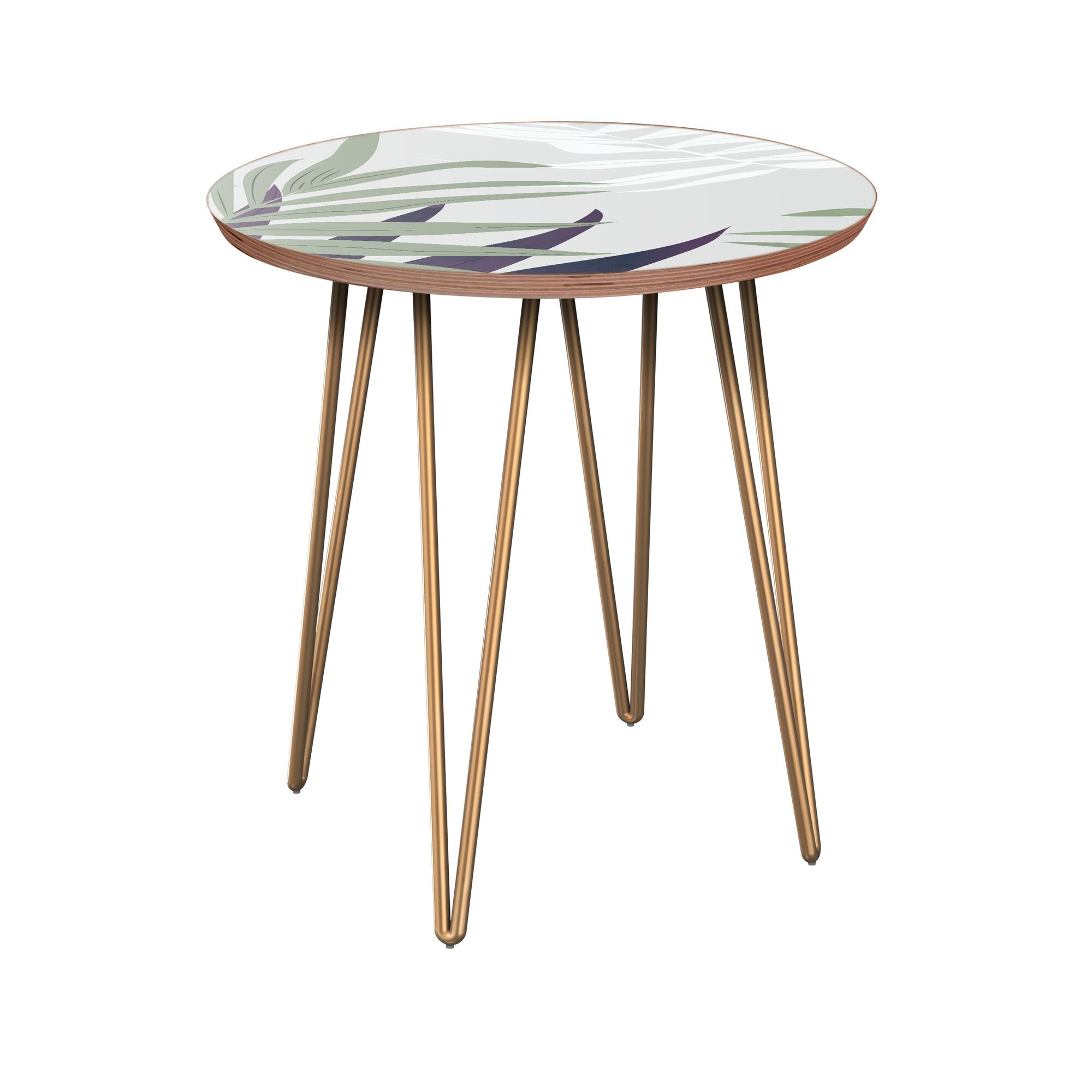 Irvona End Table Table Base Color: Brass, Table Top Color: Walnut