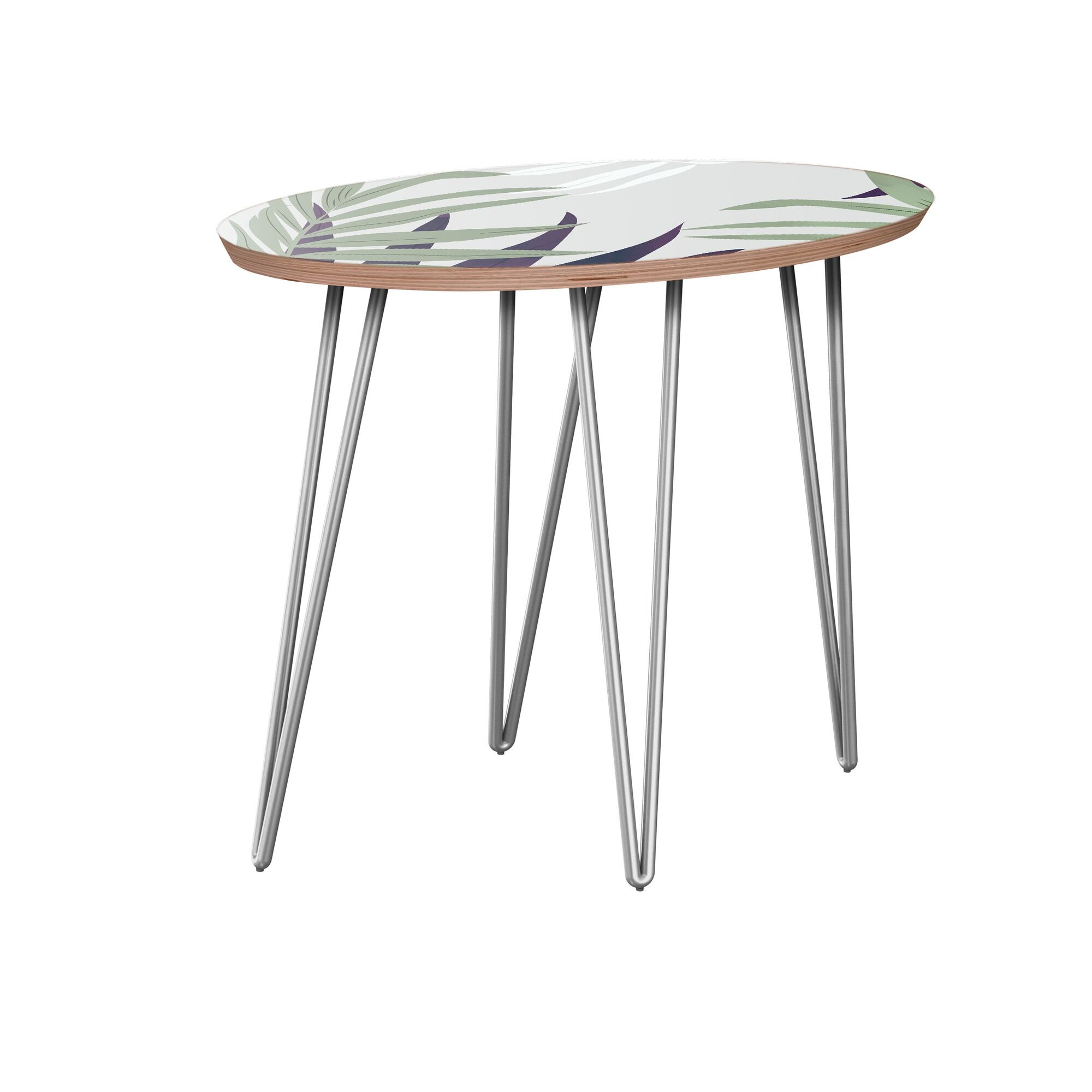 Kotomo End Table Table Base Color: Chrome, Table Top Color: Walnut