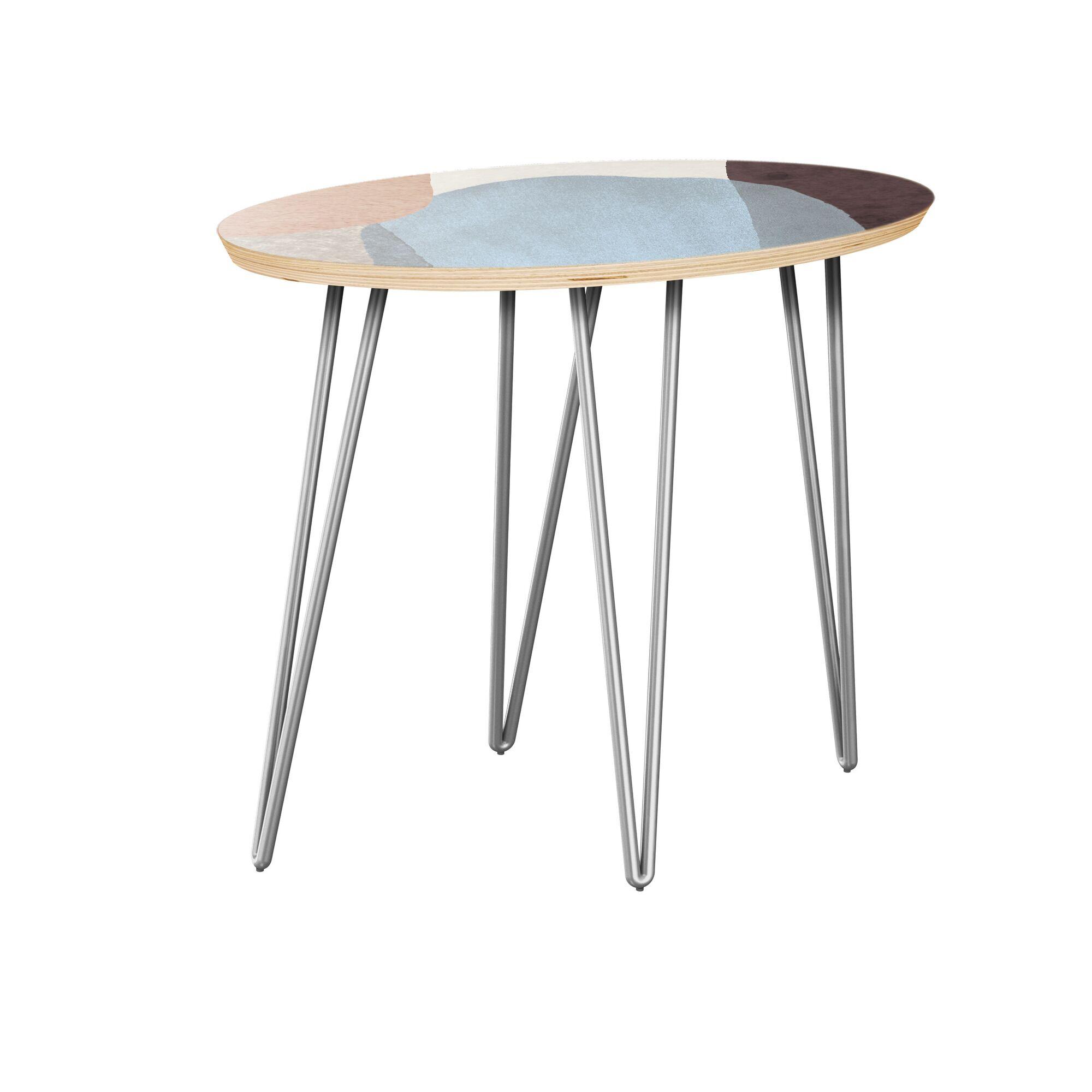 Kalyssa End Table Table Top Color: Natural, Table Base Color: Chrome
