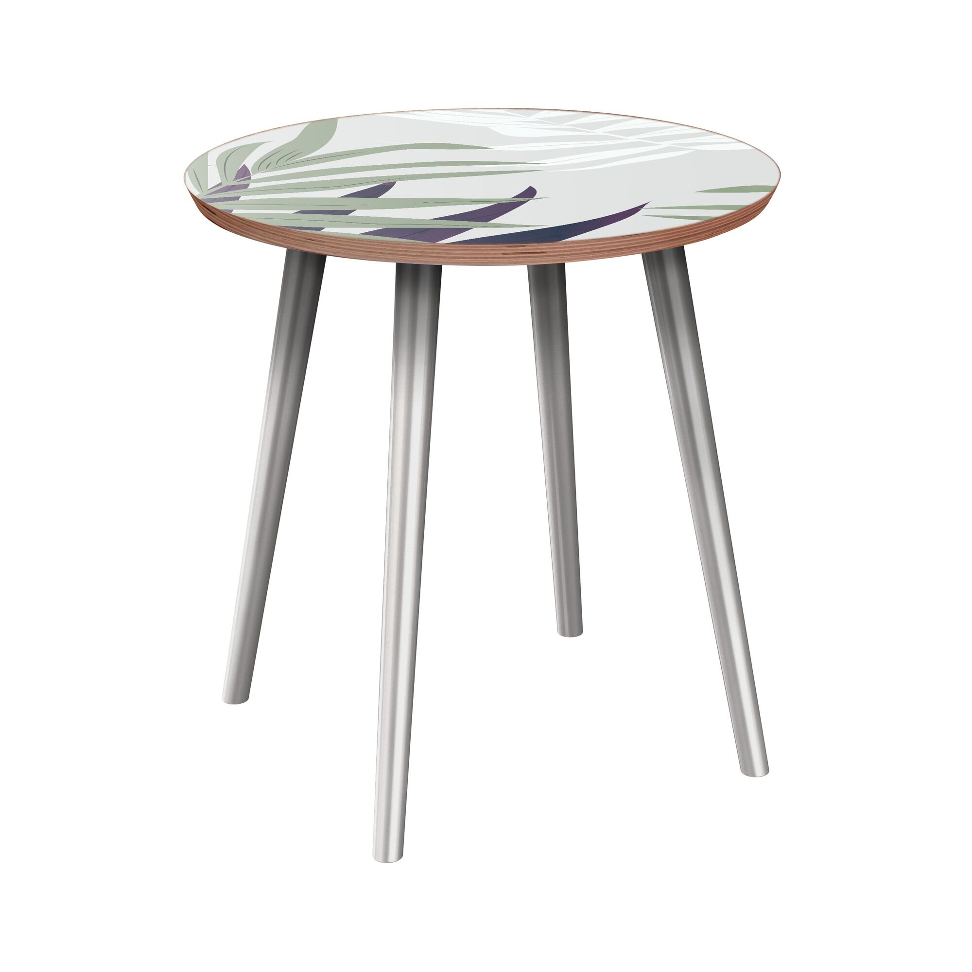 Isabeau End Table Table Base Color: Chrome, Table Top Color: Walnut