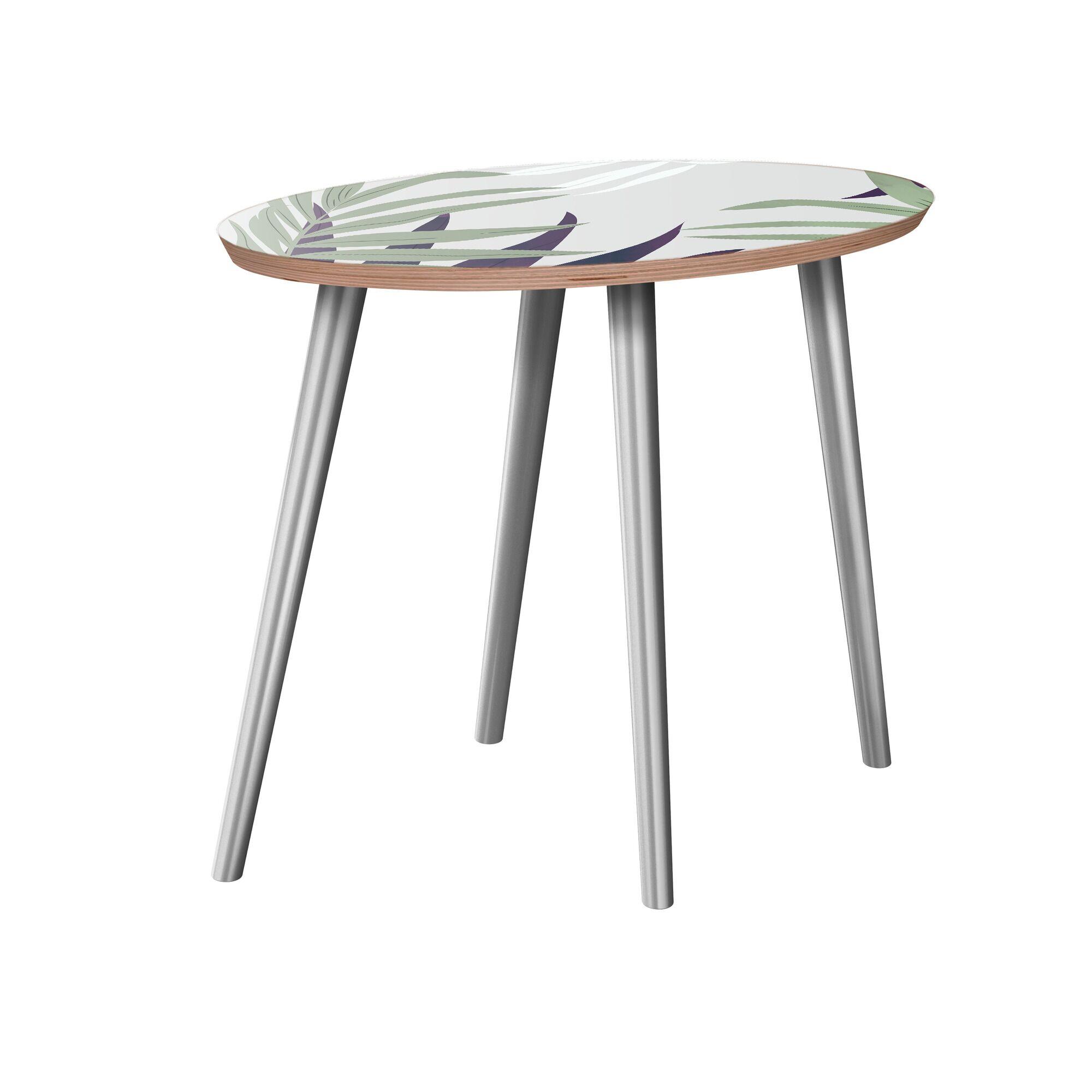 Koutio End Table Table Base Color: Chrome, Table Top Color: Walnut