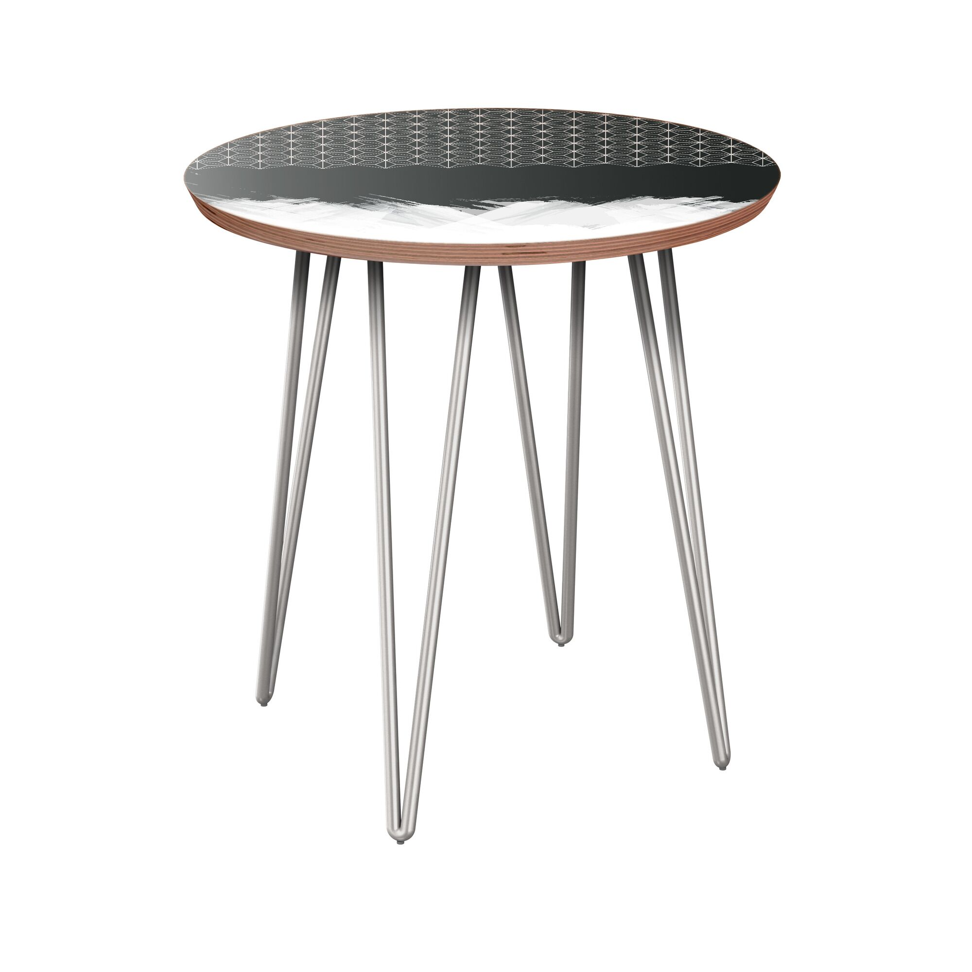 Etna End Table Table Base Color: Chrome, Table Top Color: Walnut