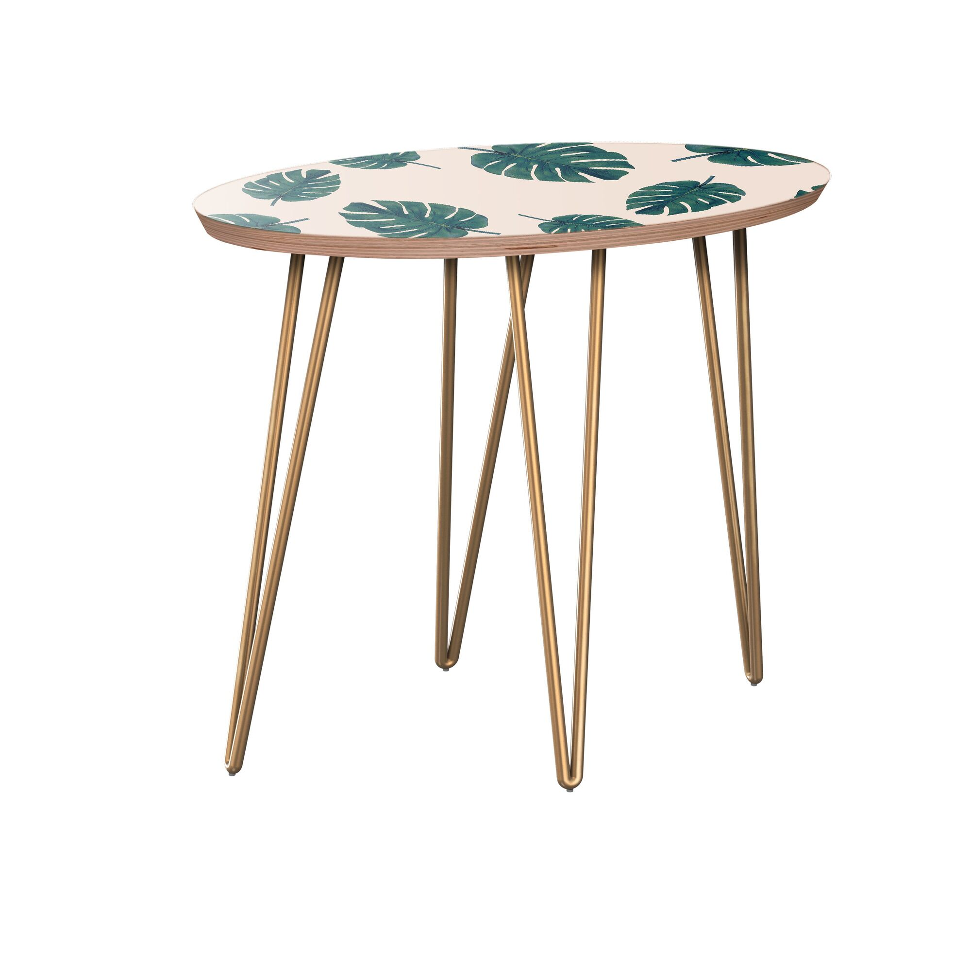 Kraig End Table Table Base Color: Brass, Table Top Color: Walnut