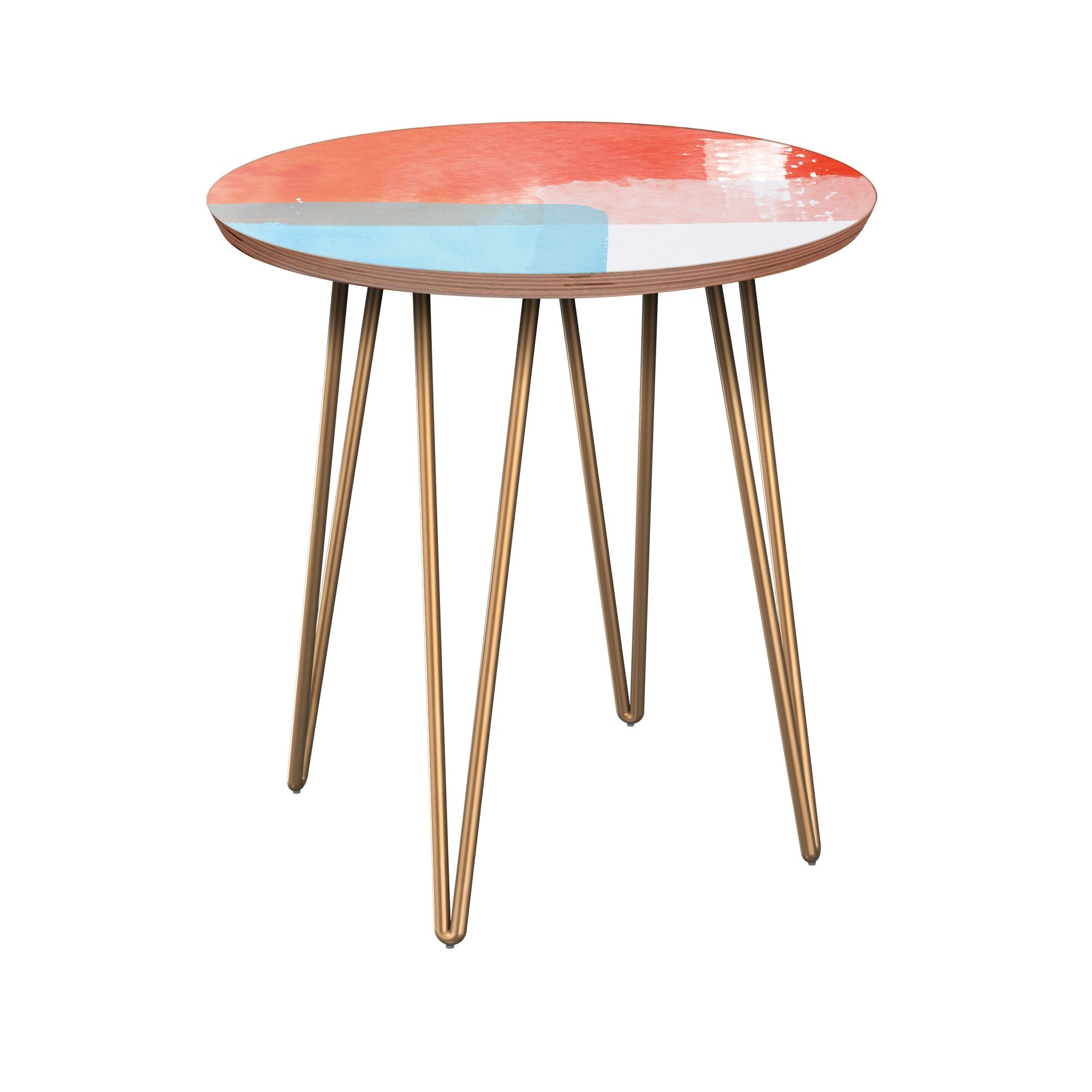 Etheredge End Table Table Base Color: Brass, Table Top Color: Walnut