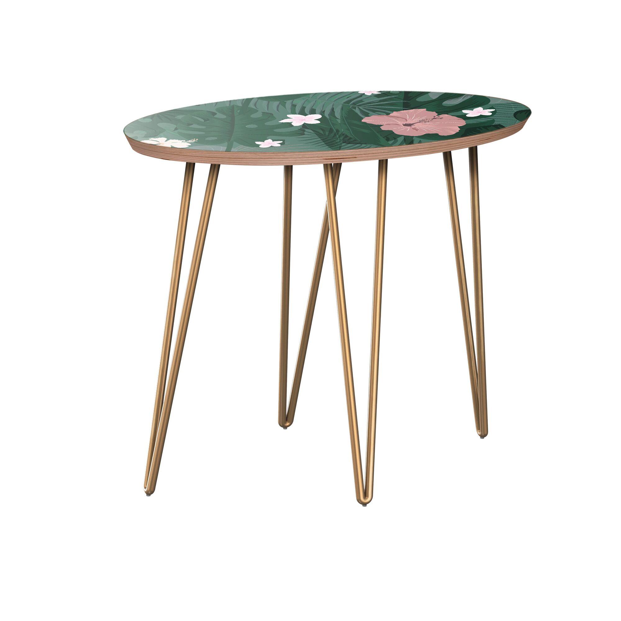 Kieve End Table Table Base Color: Brass, Table Top Color: Walnut