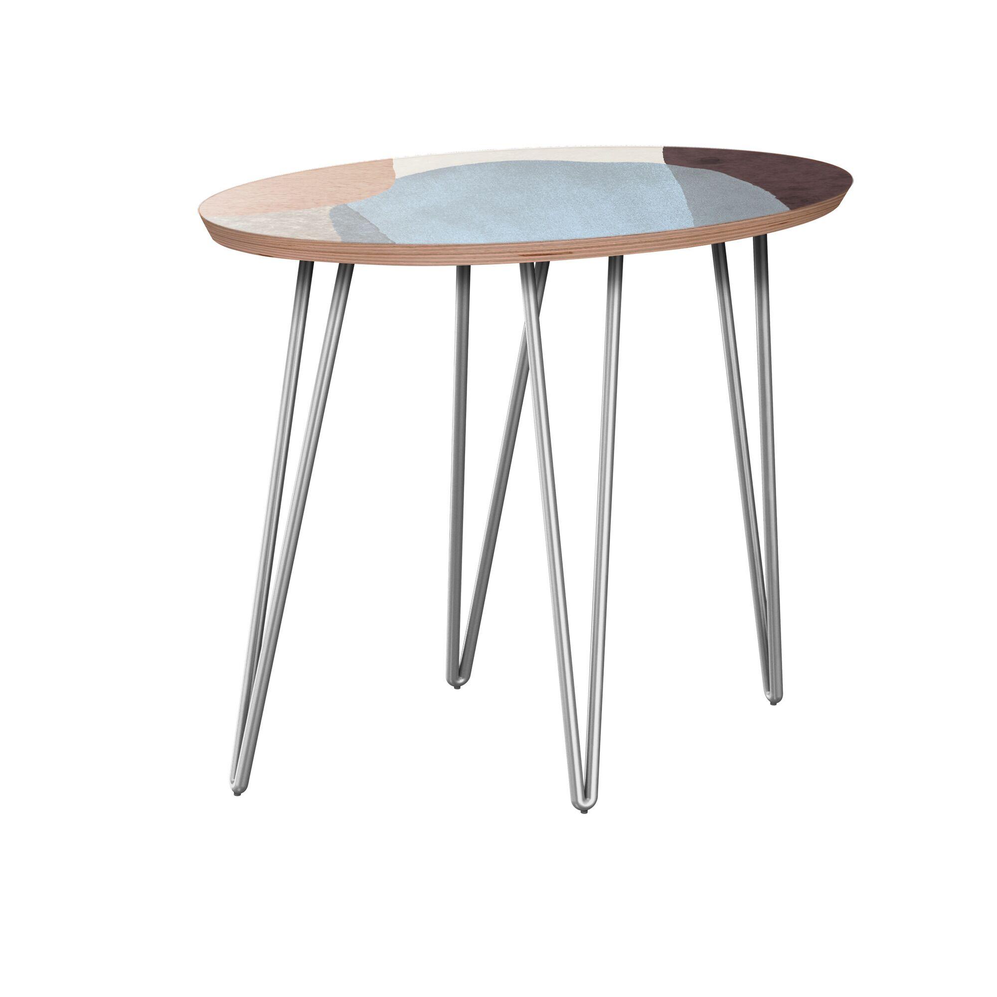 Kalyssa End Table Table Base Color: Chrome, Table Top Color: Walnut